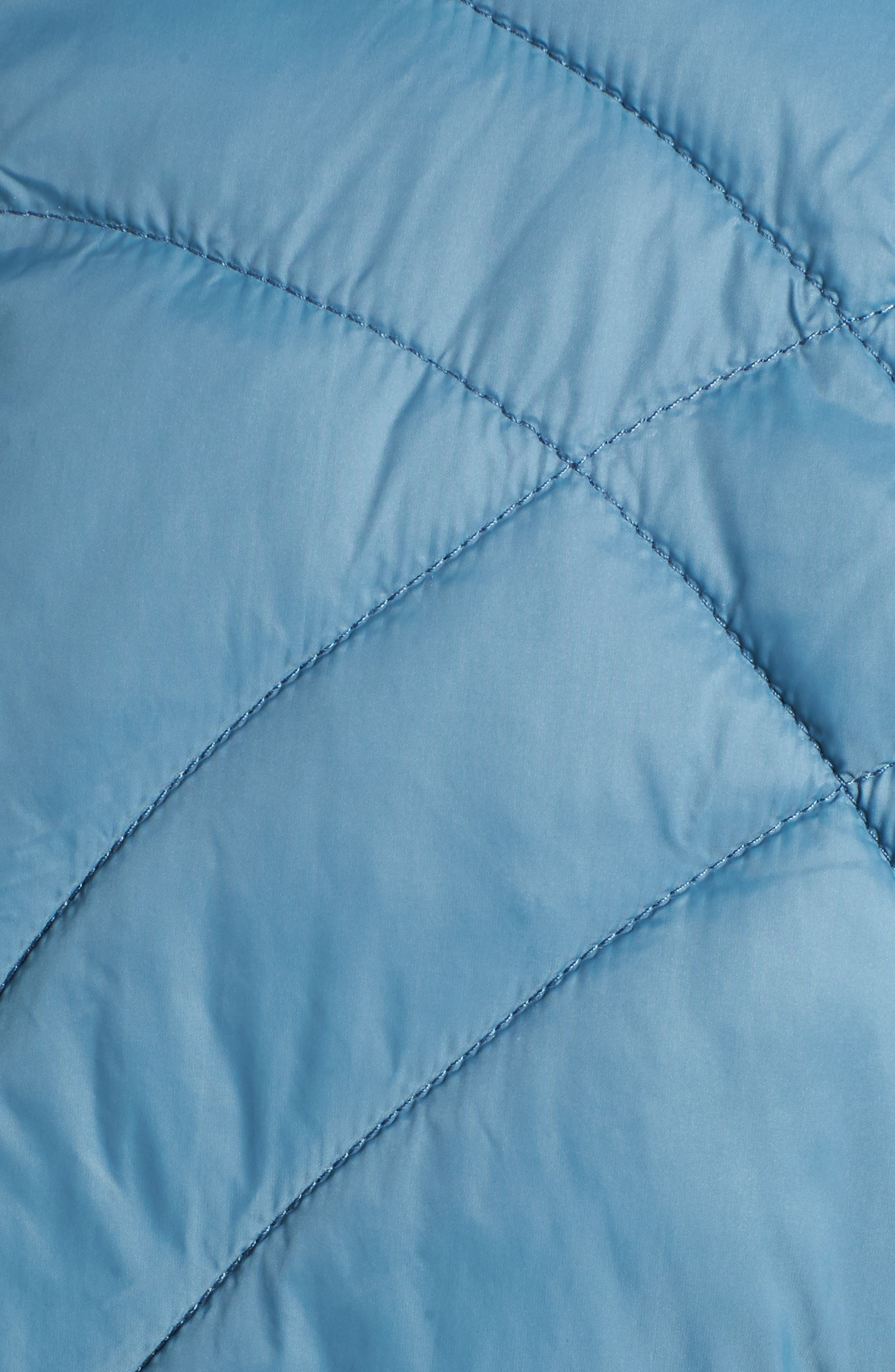 Sporty Water-Resistant Quilted Jacket,                             Alternate thumbnail 5, color,                             Aqua Blue
