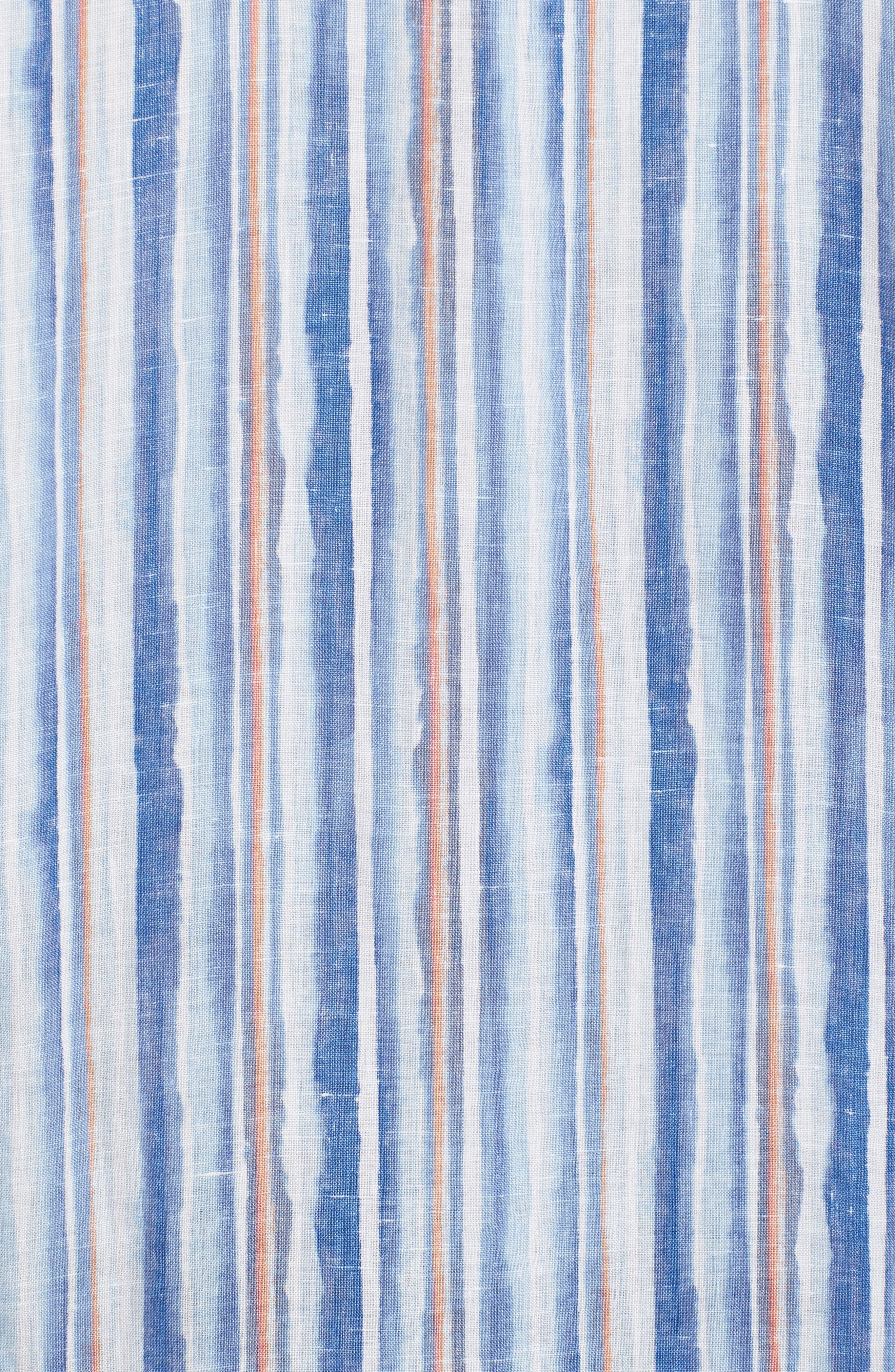 Watercrest Stripe Linen Sport Shirt,                             Alternate thumbnail 5, color,                             Cobalt Sea