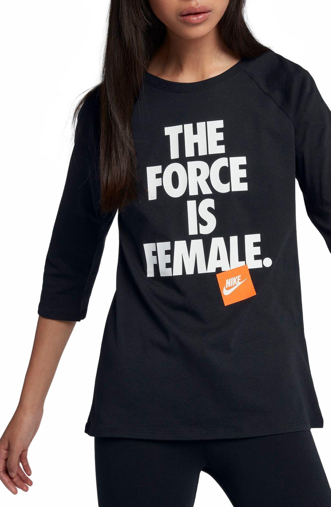 Sportswear The Force Is Female Raglan Tee,                             Main thumbnail 1, color,                             Black/ Black/ White