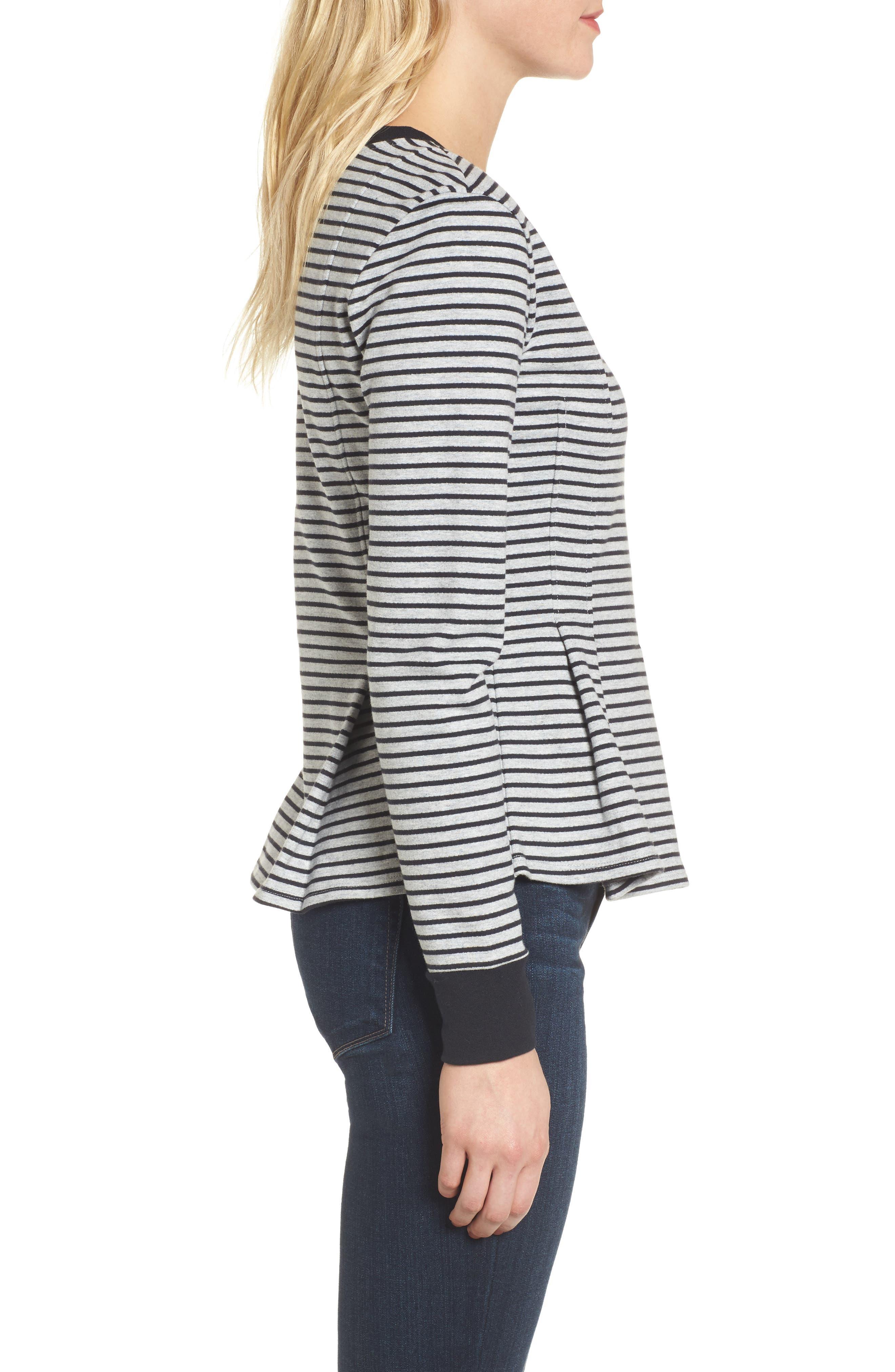 Pleated Sweatshirt,                             Alternate thumbnail 3, color,                             Grey Heather- Navy Seam Stripe