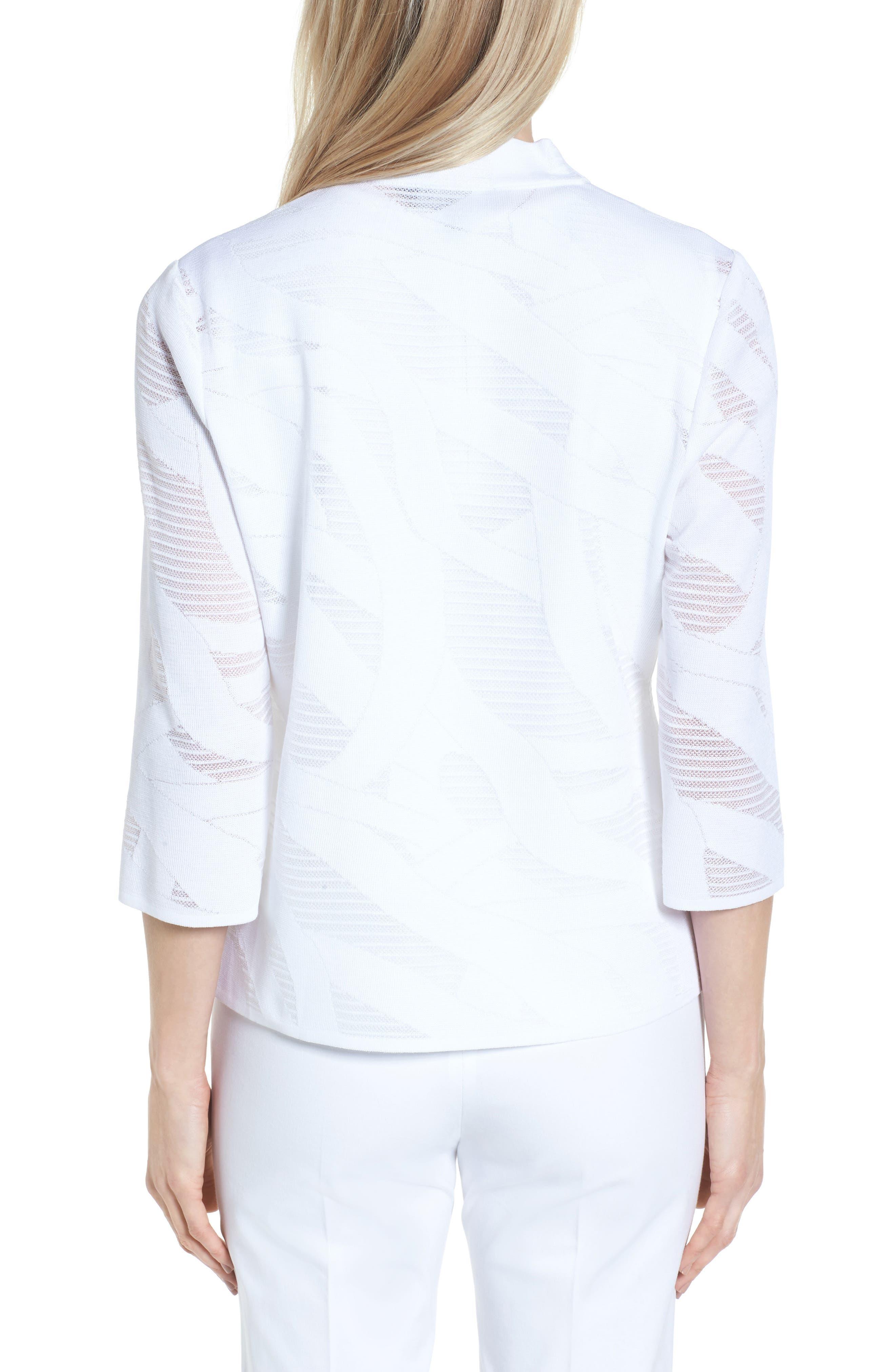 Mesh Inset Jacquard Jacket,                             Alternate thumbnail 2, color,                             White