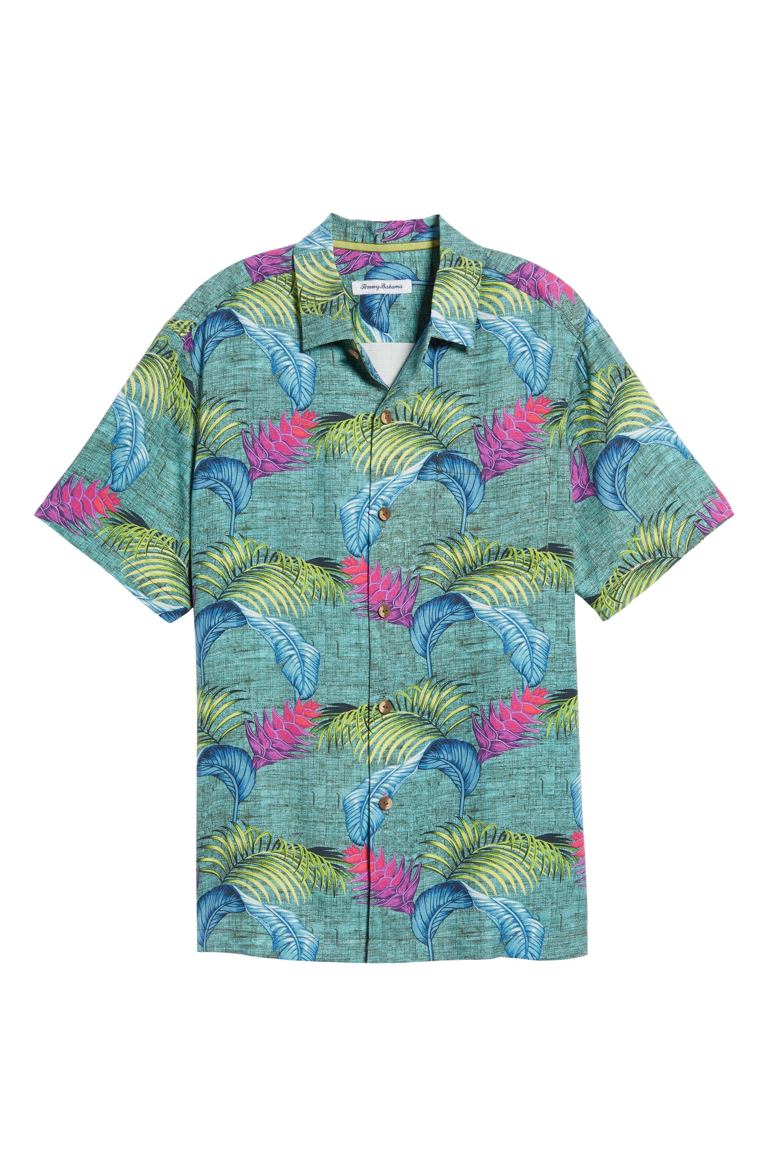 Boca Bouquet Silk Camp Shirt,                             Alternate thumbnail 6, color,                             Grand Canal