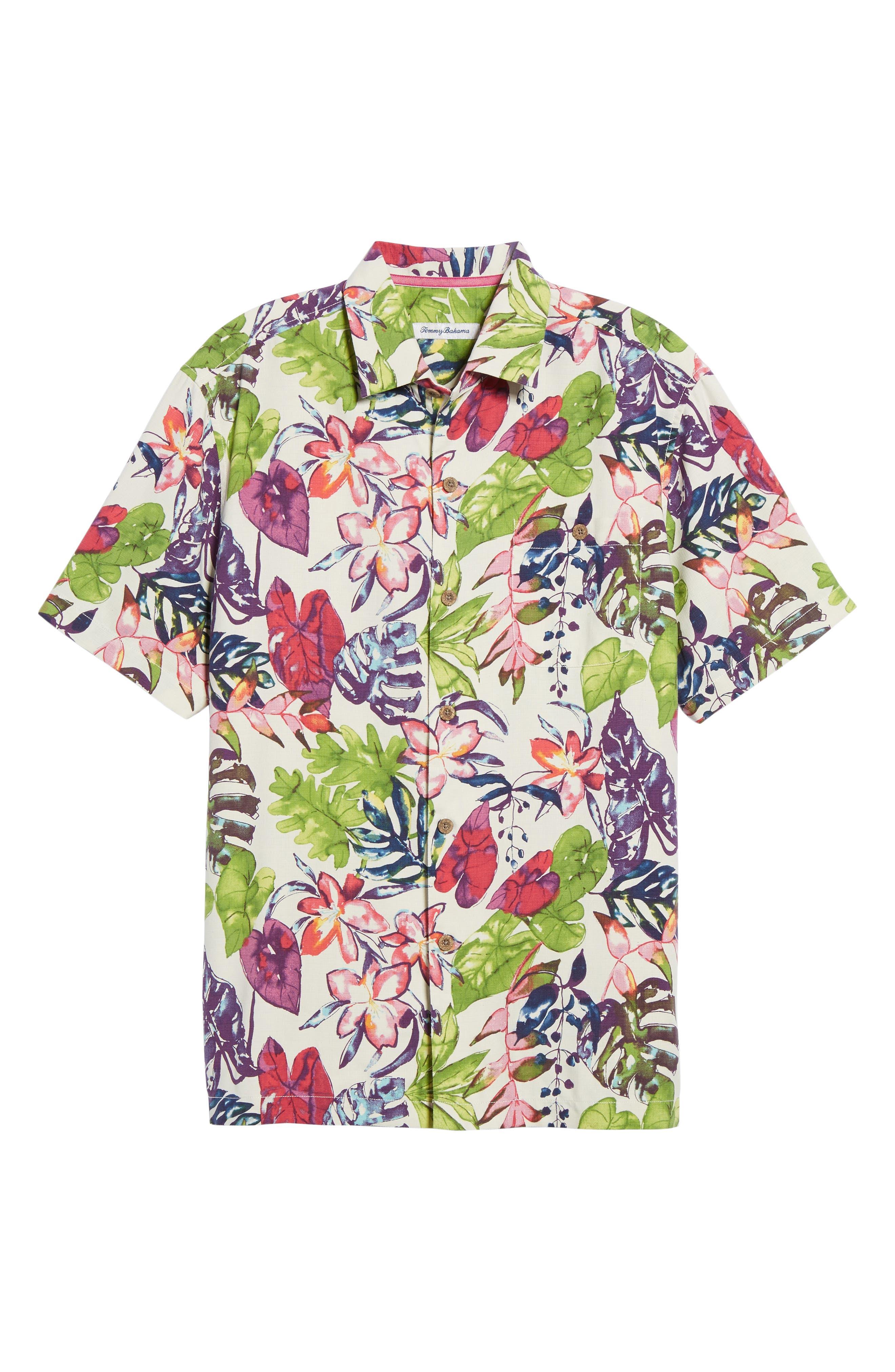 Riviera Garden Floral Silk Blend Camp Shirt,                             Alternate thumbnail 6, color,                             Cloud