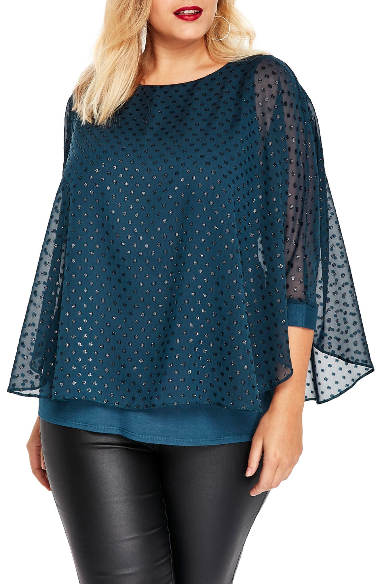 Sparkle Overlay Top,                         Main,                         color, Green