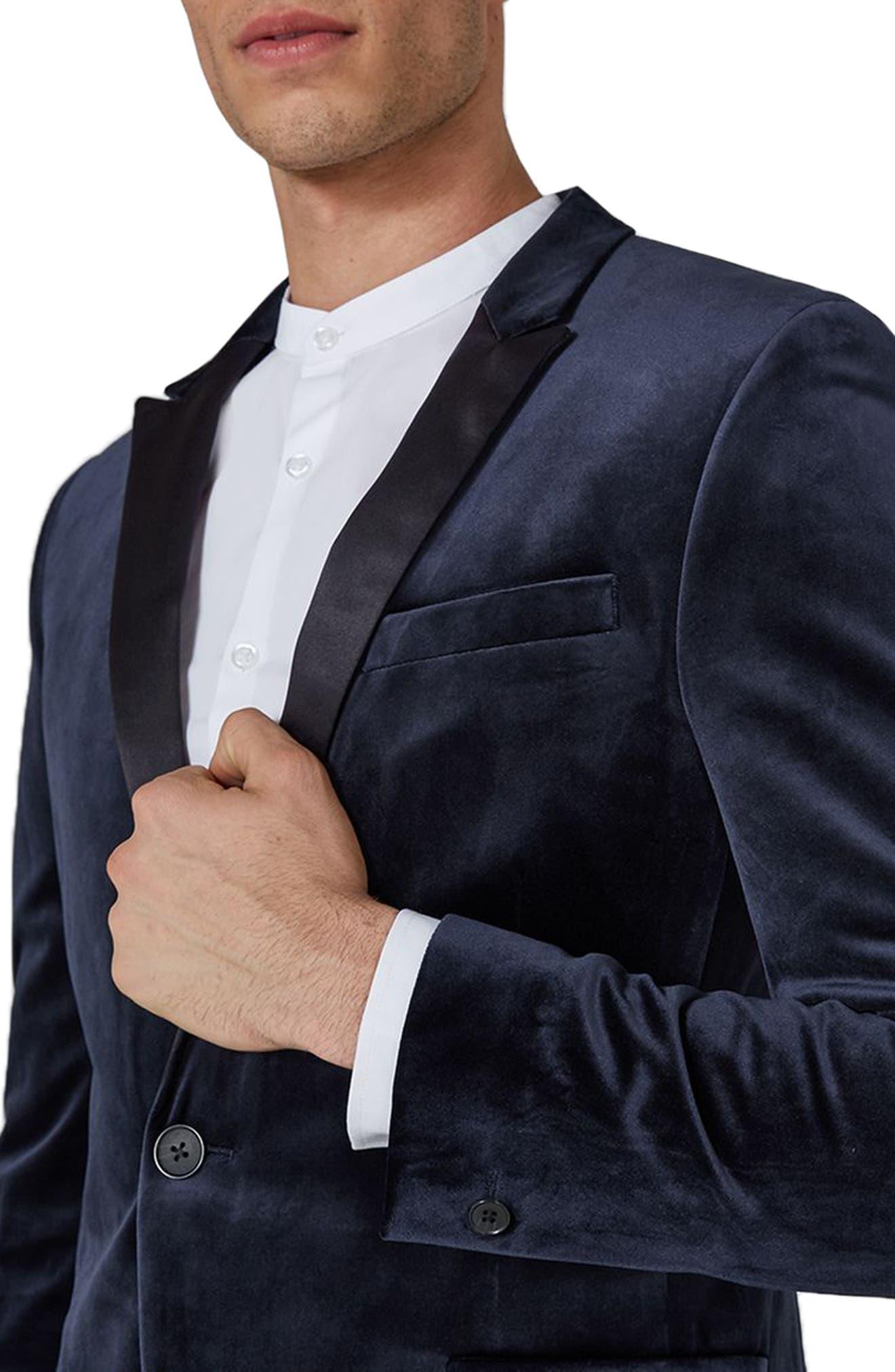 Skinny Fit Velvet Tuxedo Jacket,                             Alternate thumbnail 3, color,                             Dark Blue