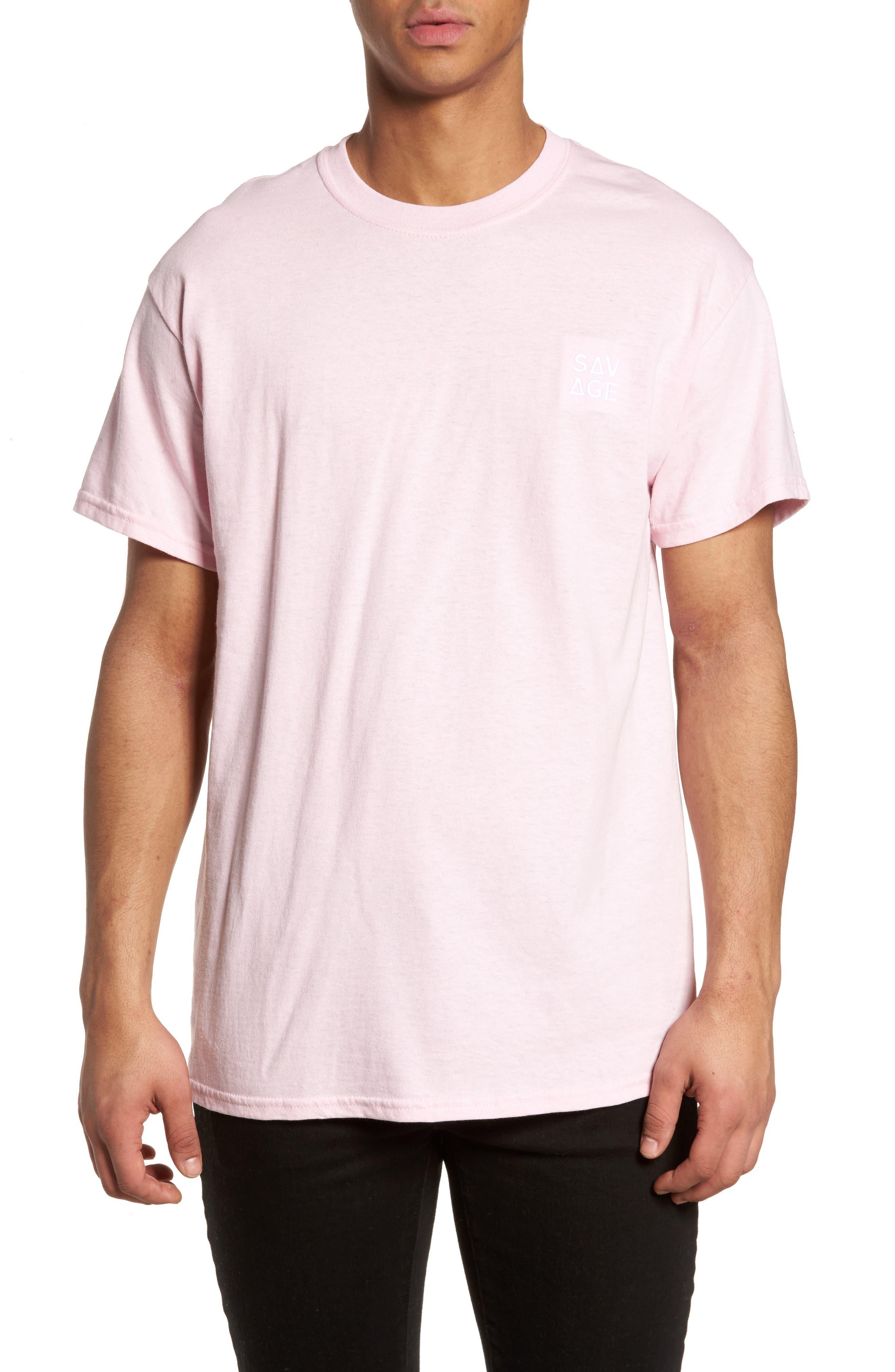 Savage Embroidered T-Shirt,                         Main,                         color, Pink Savage