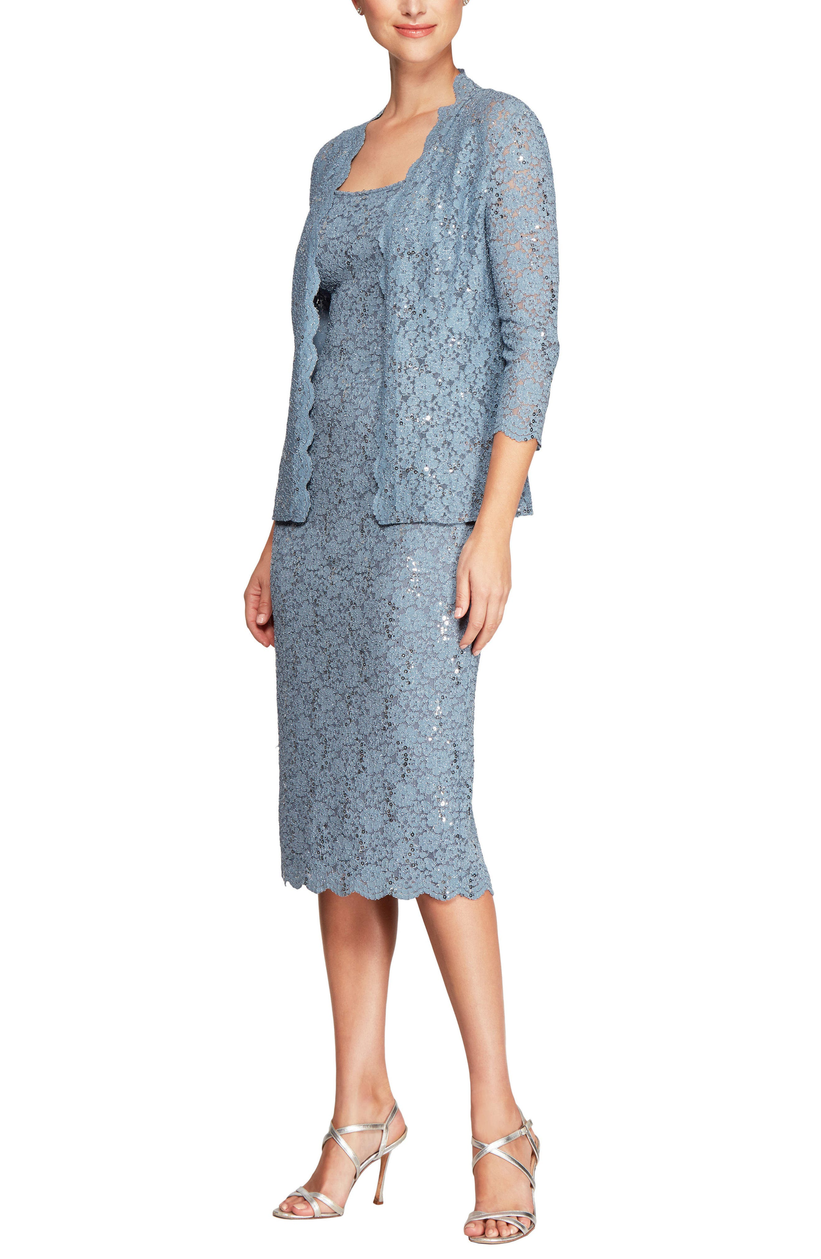 Sequined Lace Sheath Dress with Jacket,                         Main,                         color, Steel Blue