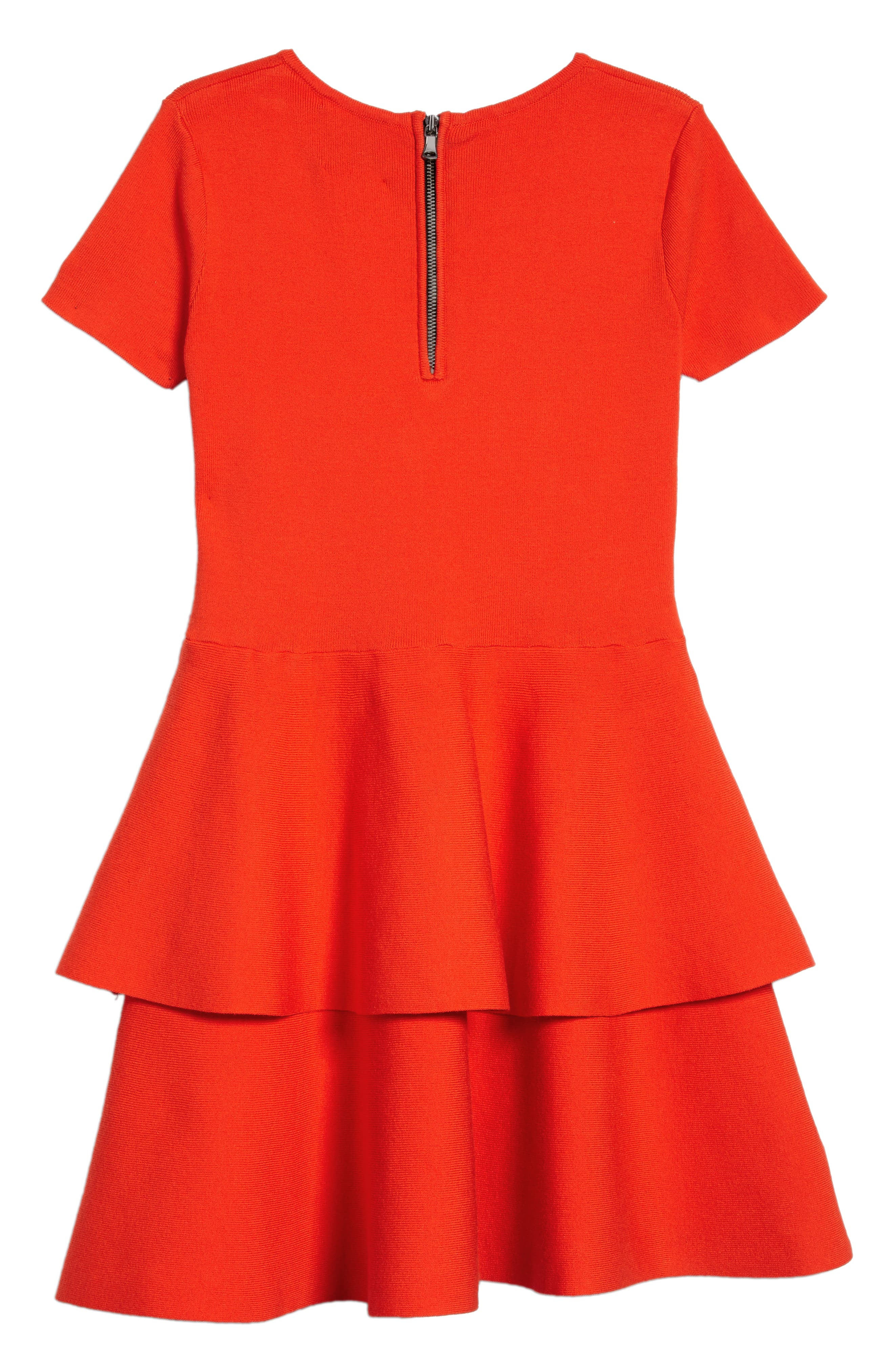 Tiered Dress,                             Alternate thumbnail 2, color,                             Poppy