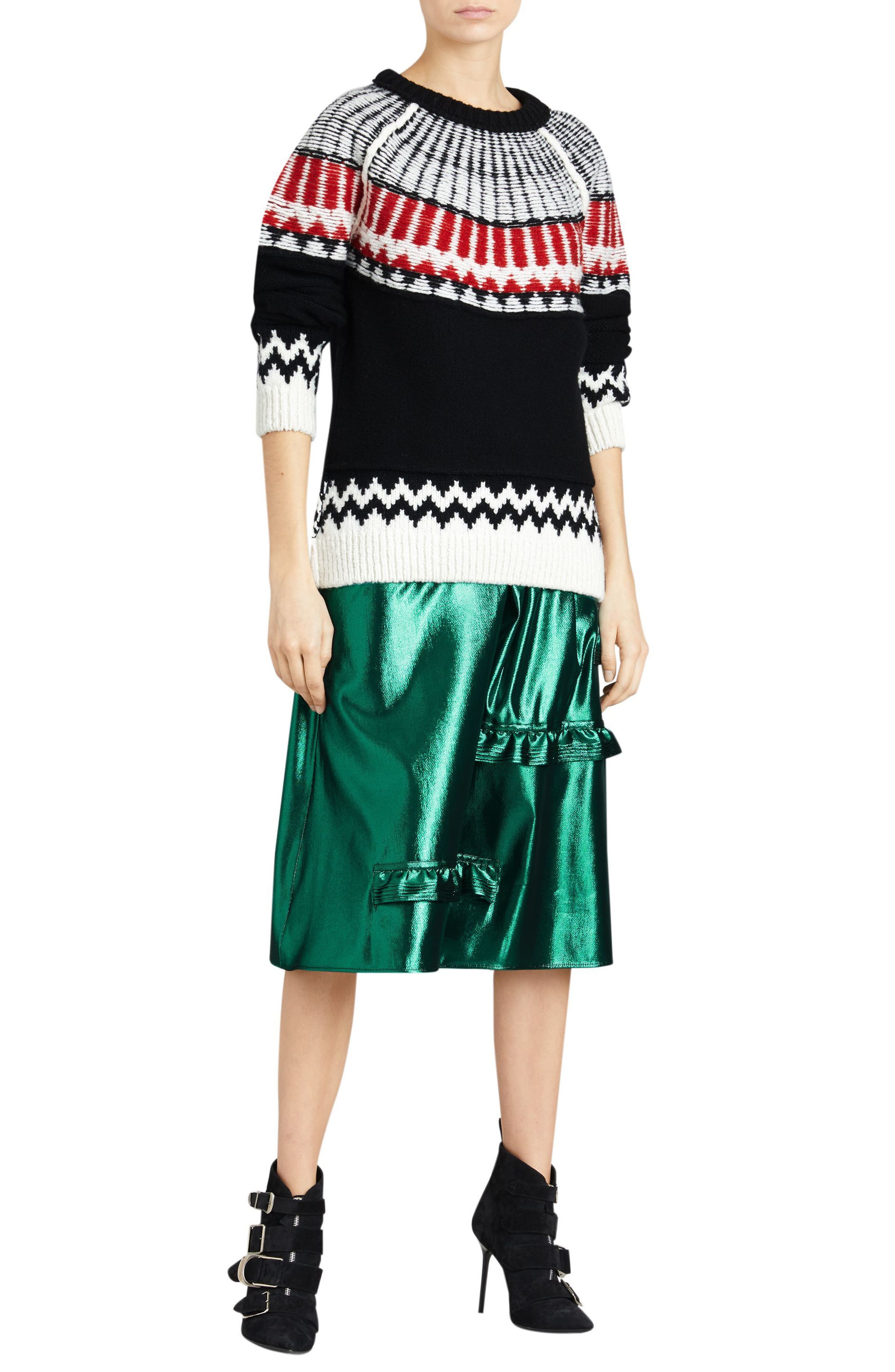 Trycroft Fair Isle Wool Blend Sweater,                             Alternate thumbnail 5, color,                             Black/ Military Red