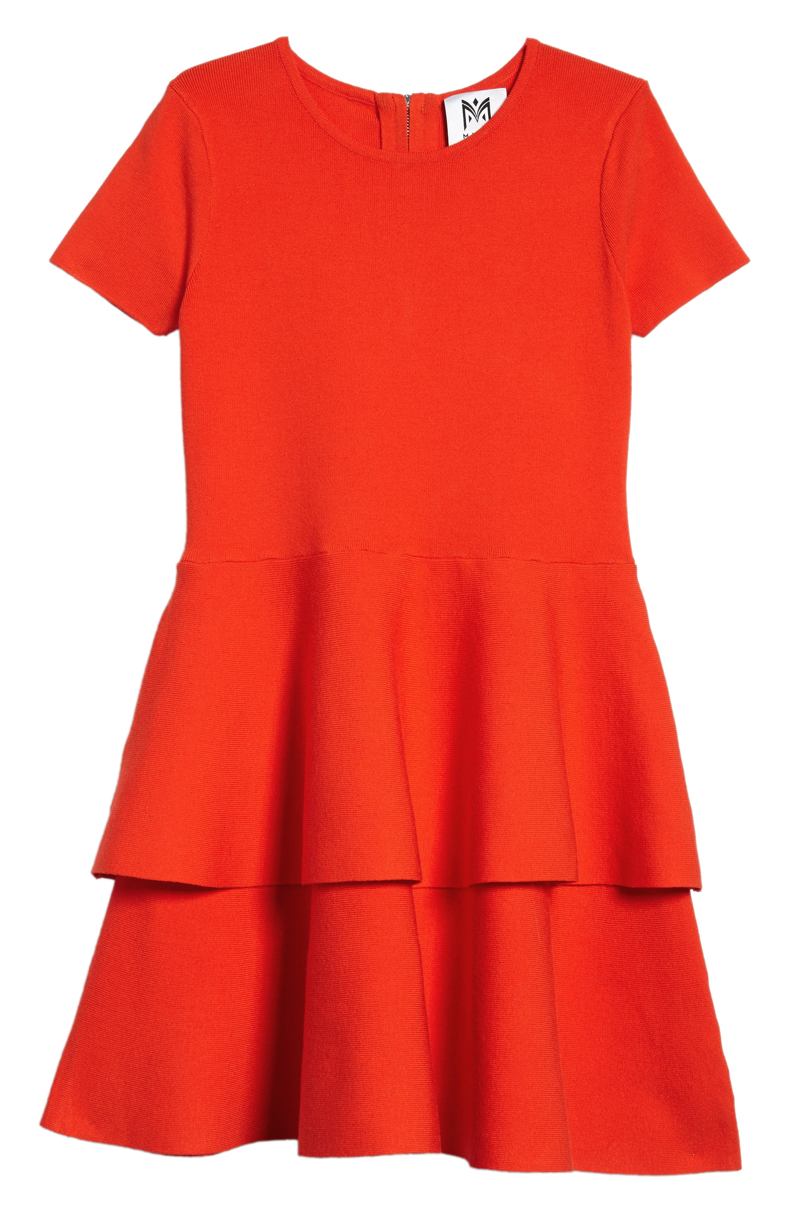 Tiered Dress,                             Main thumbnail 1, color,                             Poppy