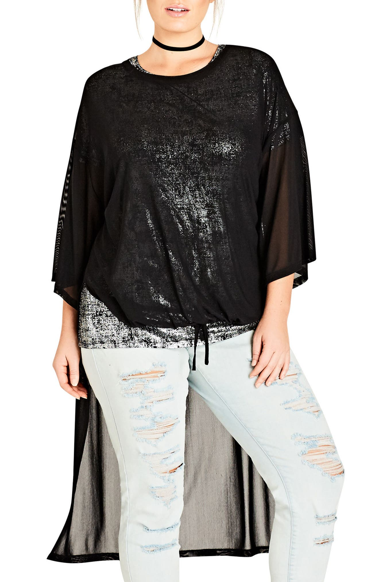 Alternate Image 1 Selected - City Chic Step Hem Mesh Top (Plus Size)