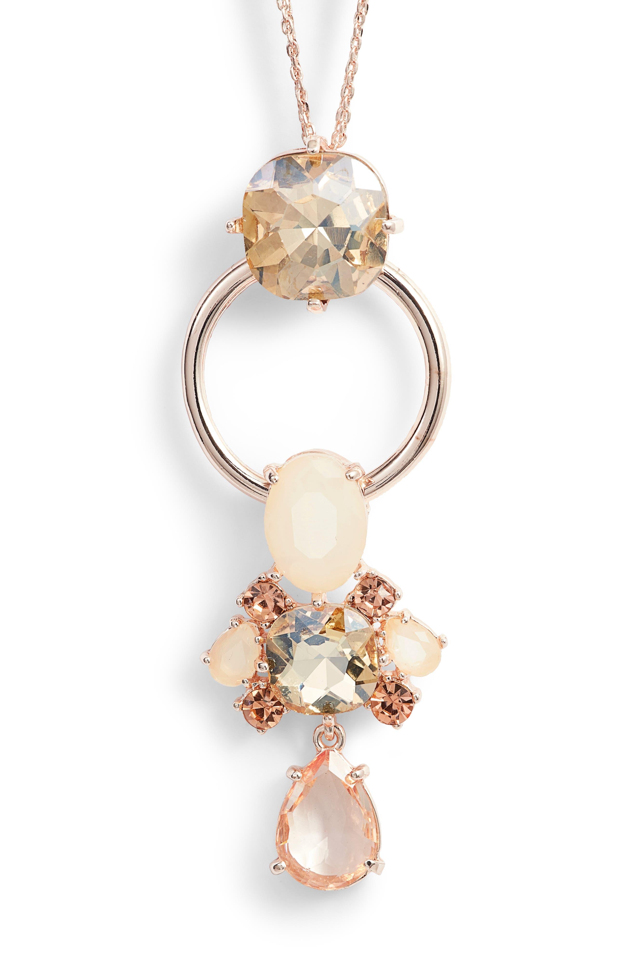 Jewel Pendant Necklace,                             Alternate thumbnail 2, color,                             Pink Multi- Rose Gold