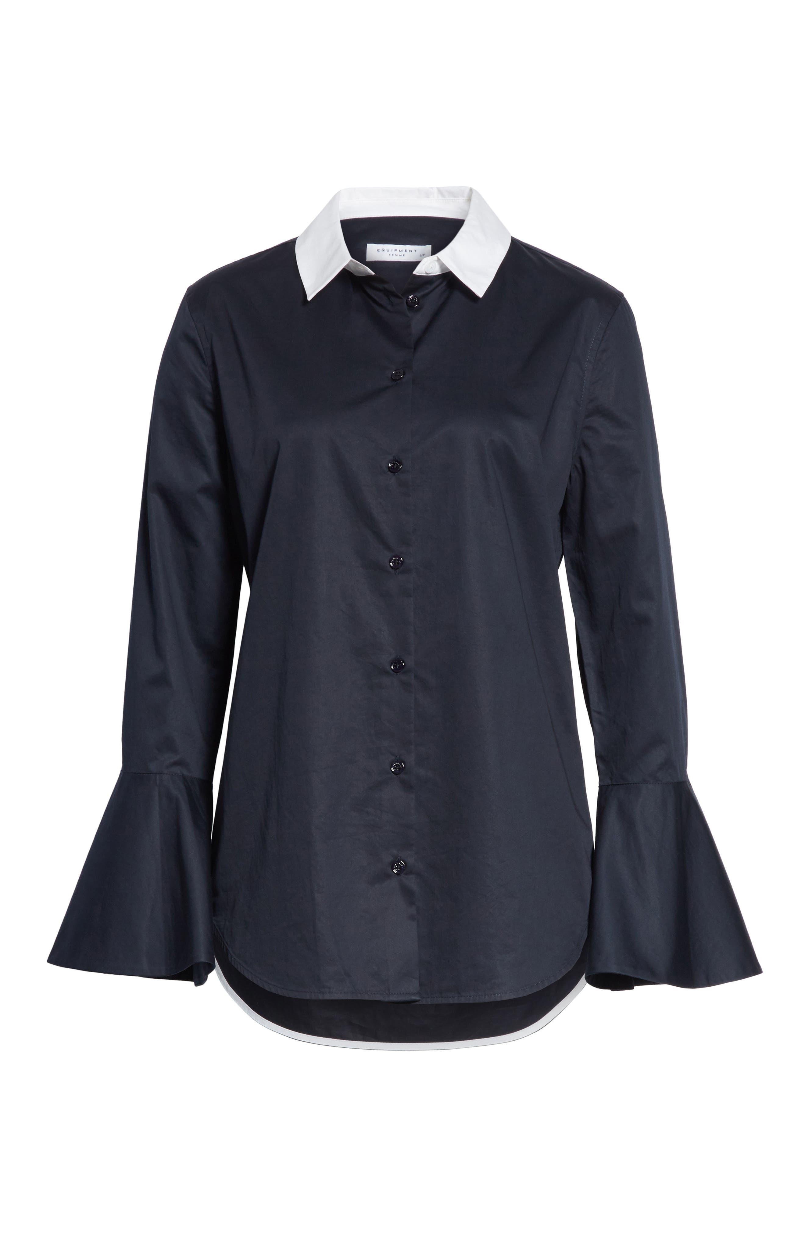 Darla Bell Cuff Shirt,                             Alternate thumbnail 6, color,                             Eclipse