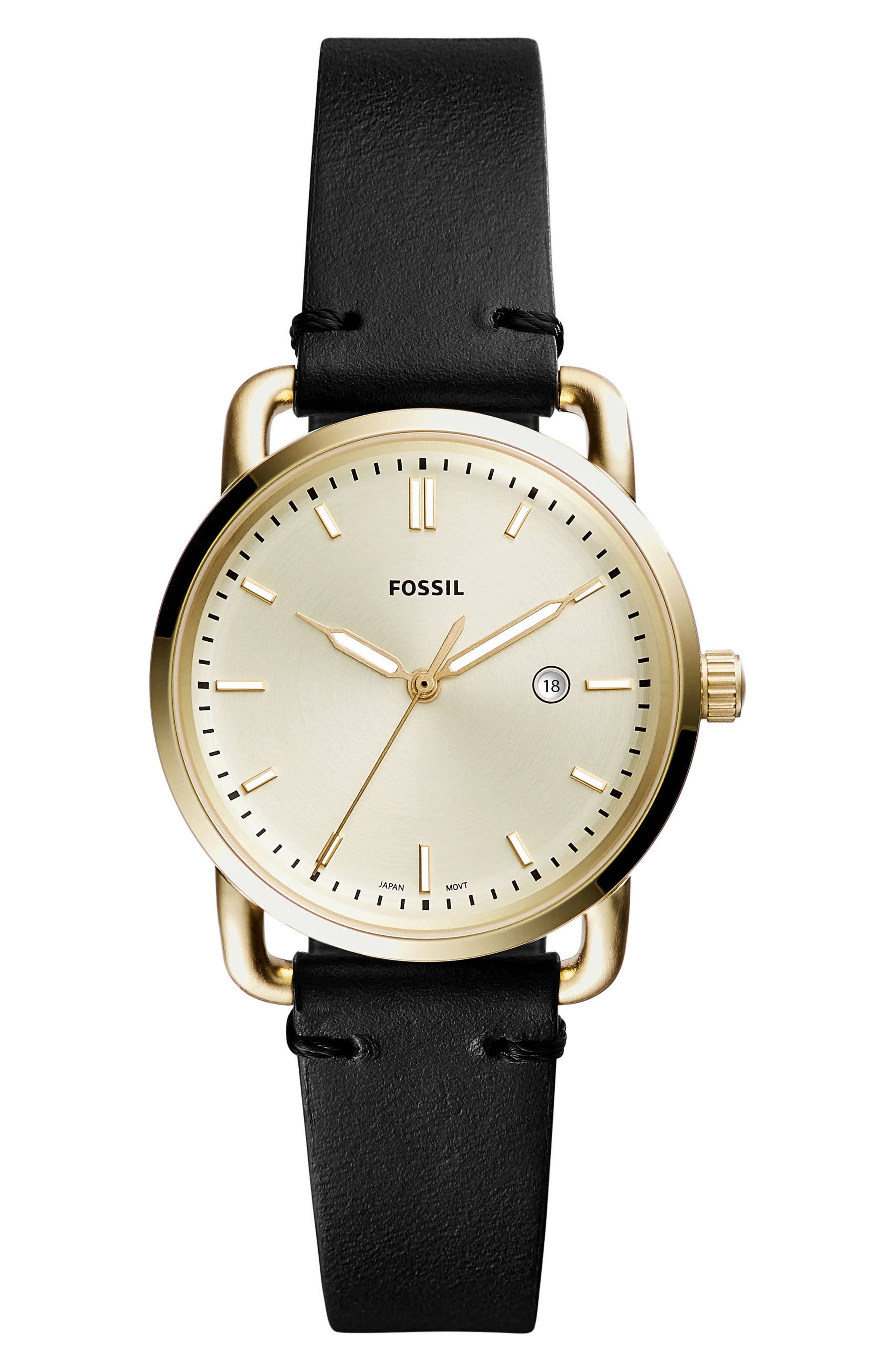 Commuter Leather Strap Watch, 34mm,                         Main,                         color, Black/ Beige/ Gold