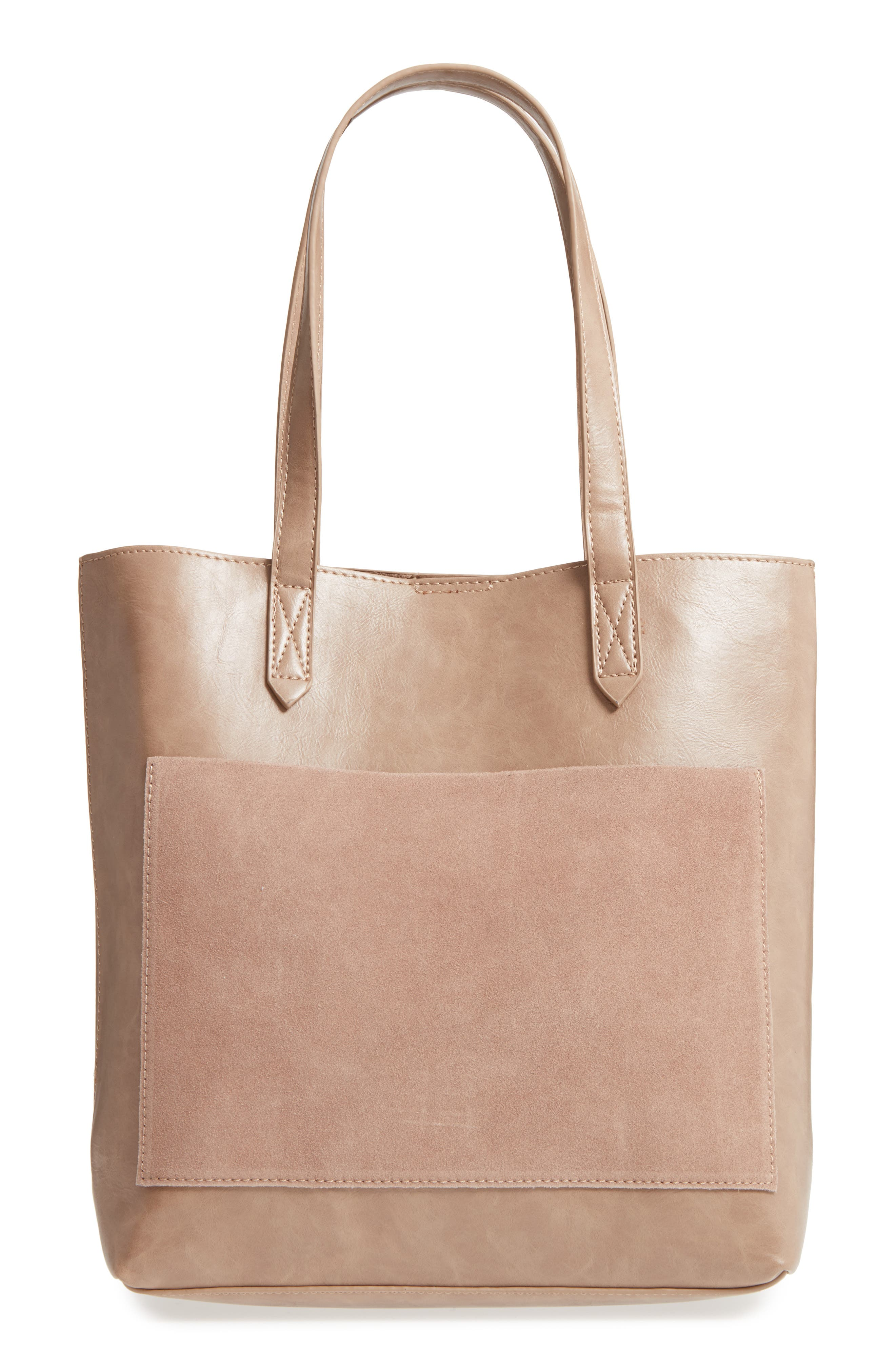 Trish Faux Leather Tote,                         Main,                         color, Taupe