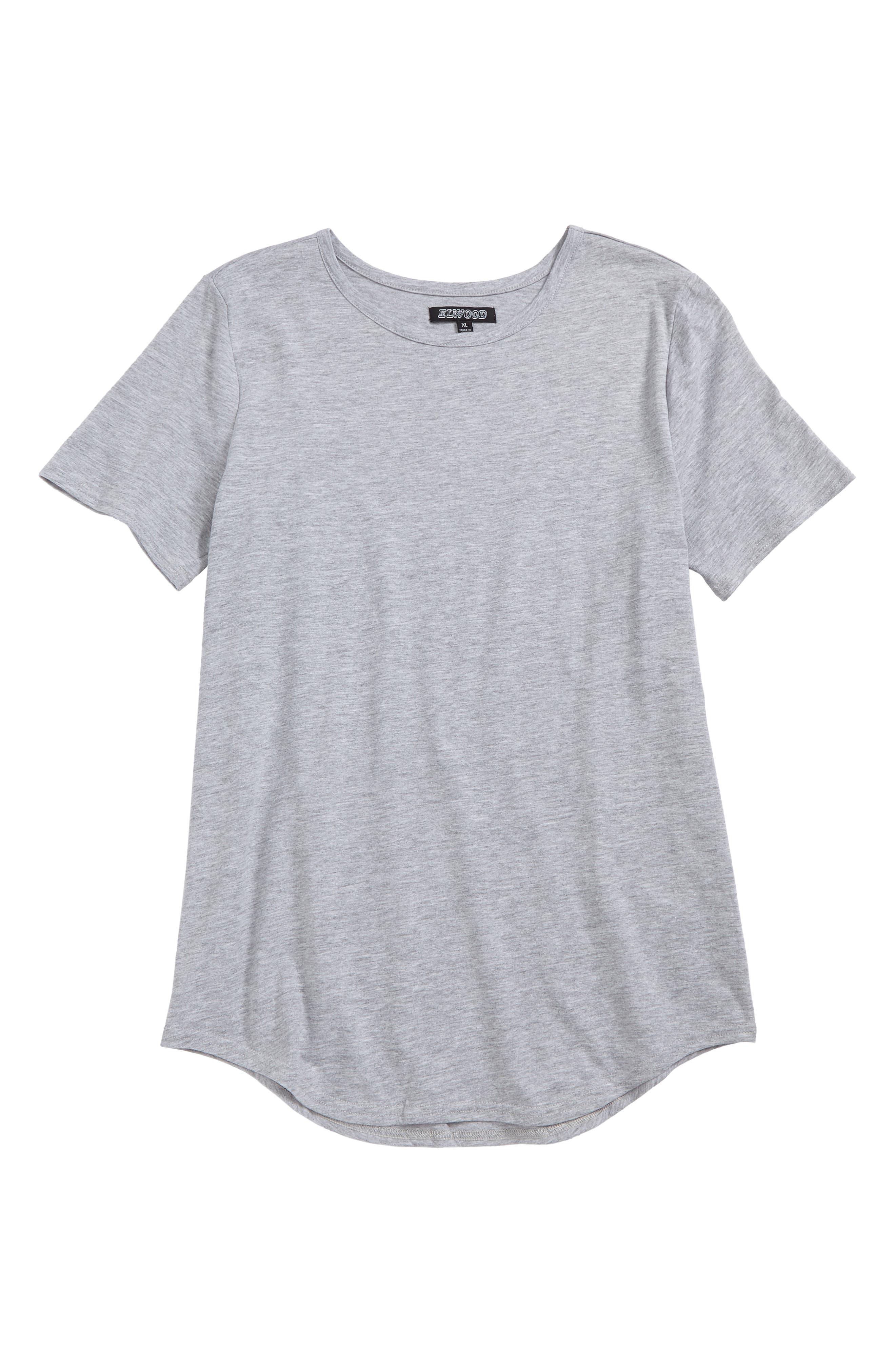 Curved Hem T-Shirt,                             Main thumbnail 1, color,                             Heather Grey