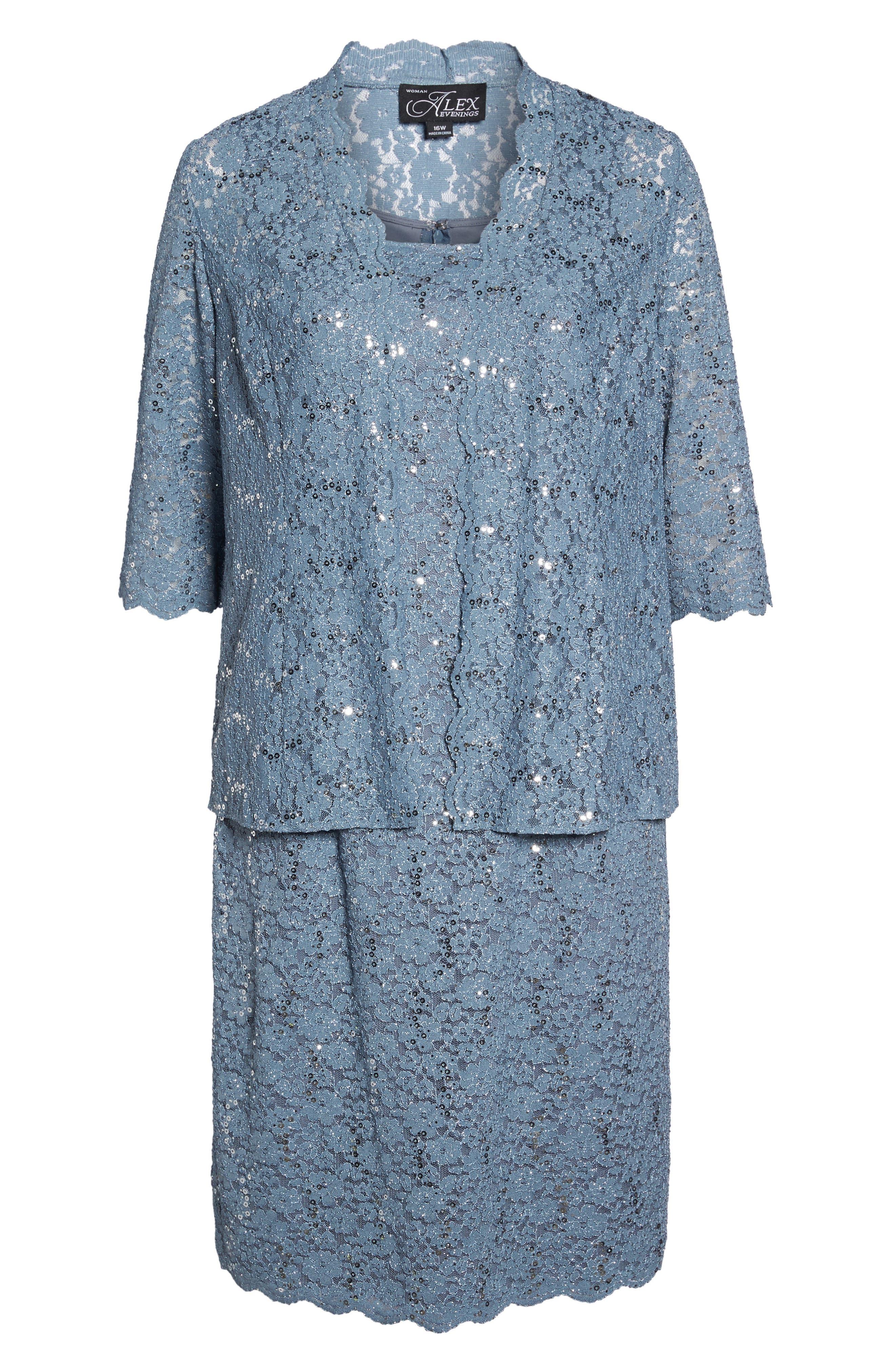 Sequin Lace Jacket Dress,                             Alternate thumbnail 6, color,                             Steel Blue