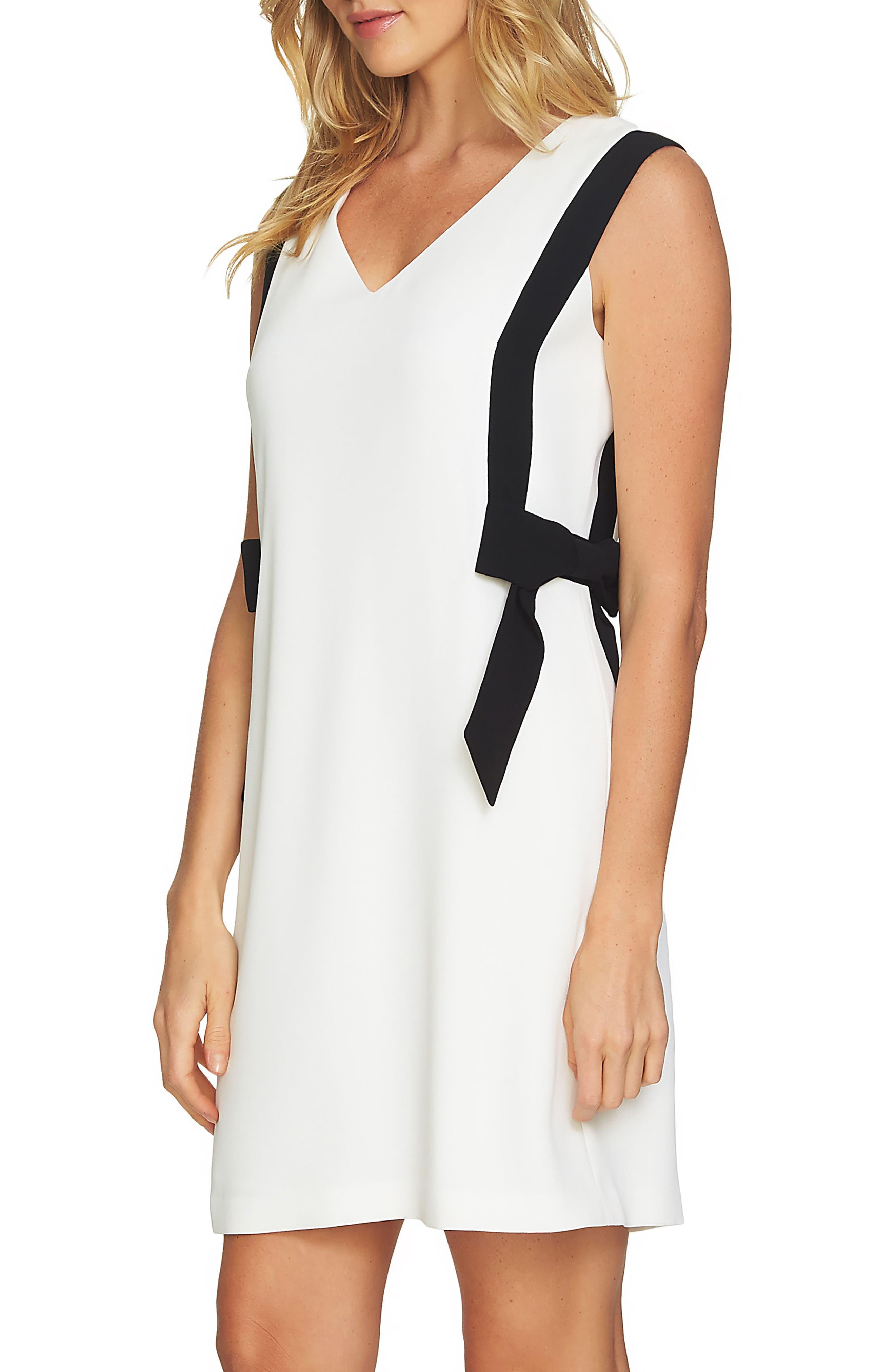 Colorblock V-Neck Dress,                             Alternate thumbnail 2, color,                             Antique White