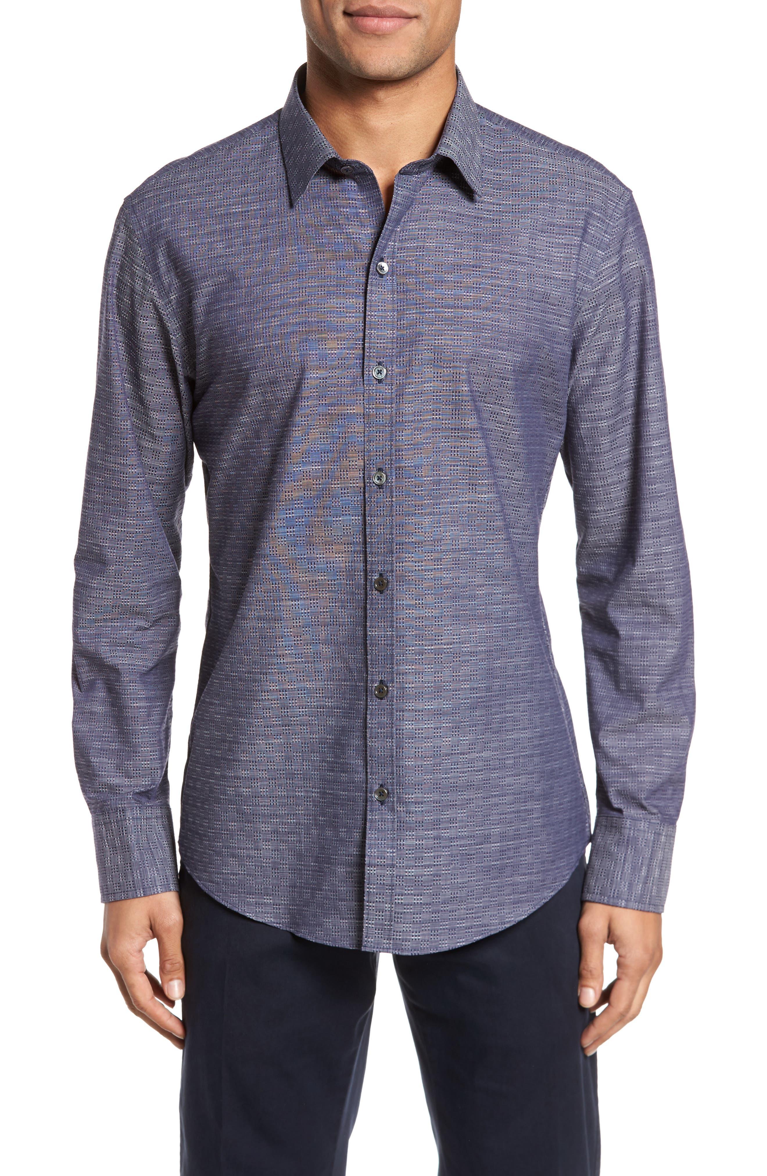 Jablon Check Sport Shirt,                         Main,                         color, Navy