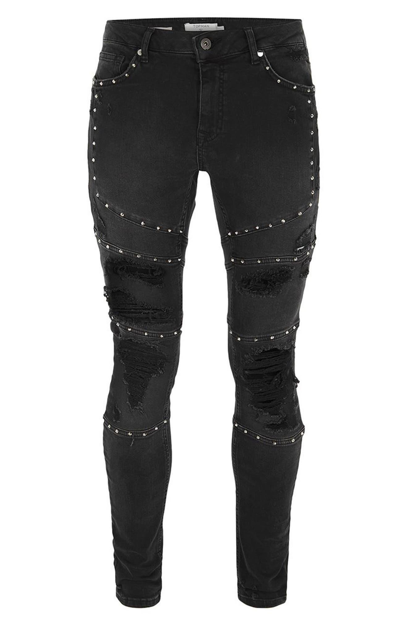 Studded Spray-On Biker Jeans,                             Alternate thumbnail 4, color,                             Black