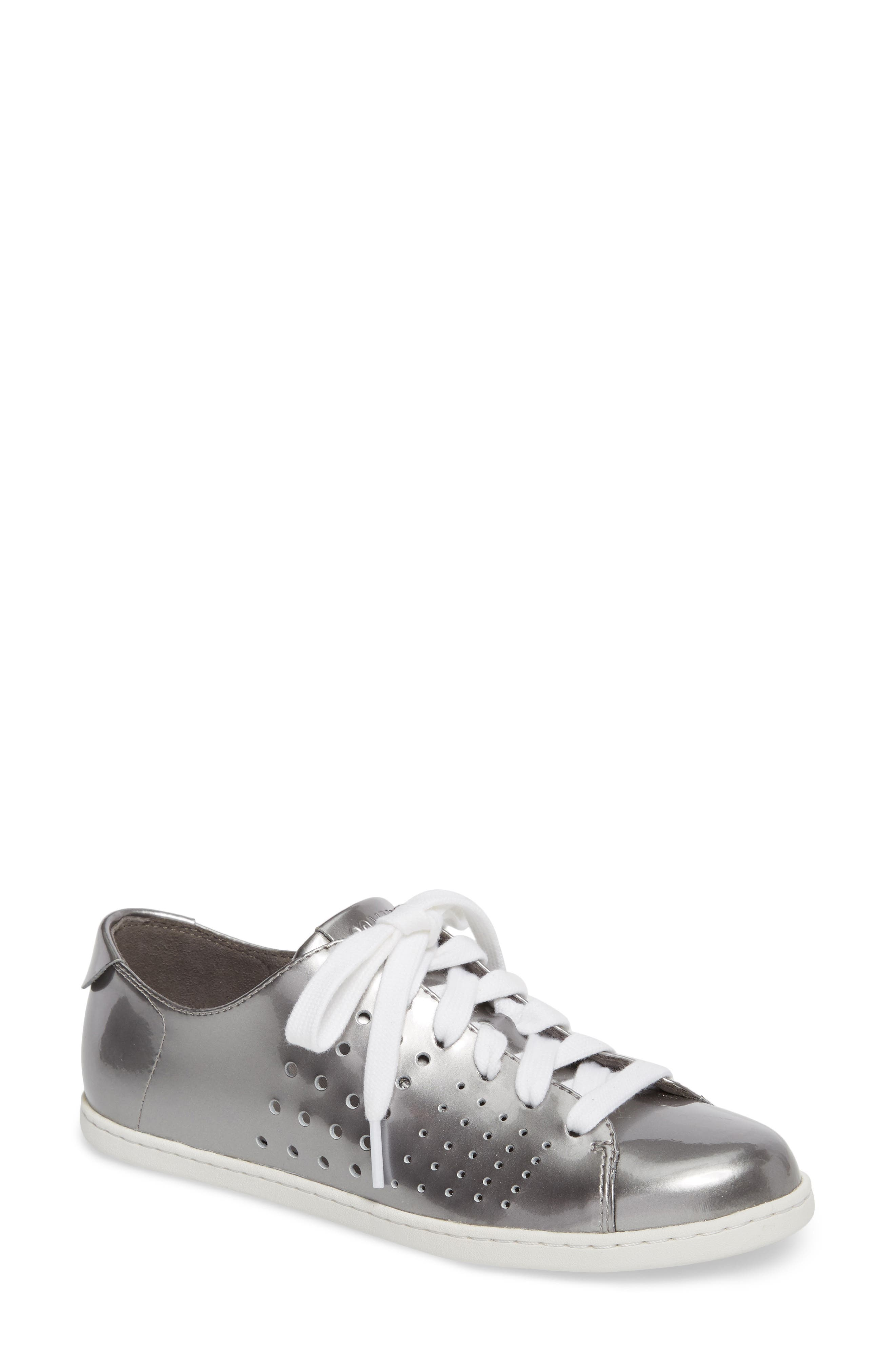 Twins Perforated Low Top Sneaker,                         Main,                         color, Medium Gray Leather