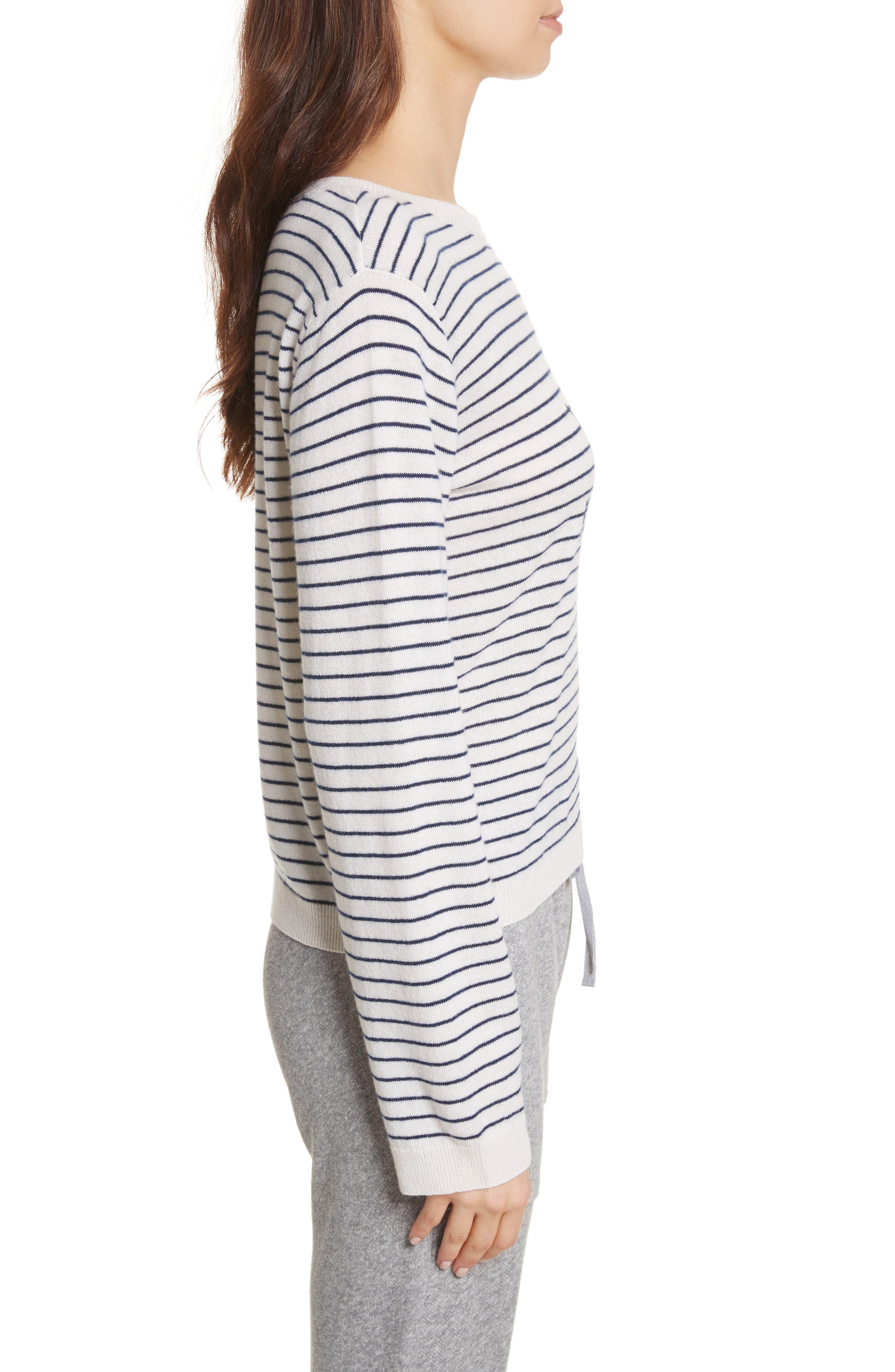 Verbina Stripe Pullover,                             Alternate thumbnail 3, color,                             Porcelain/ Midnight