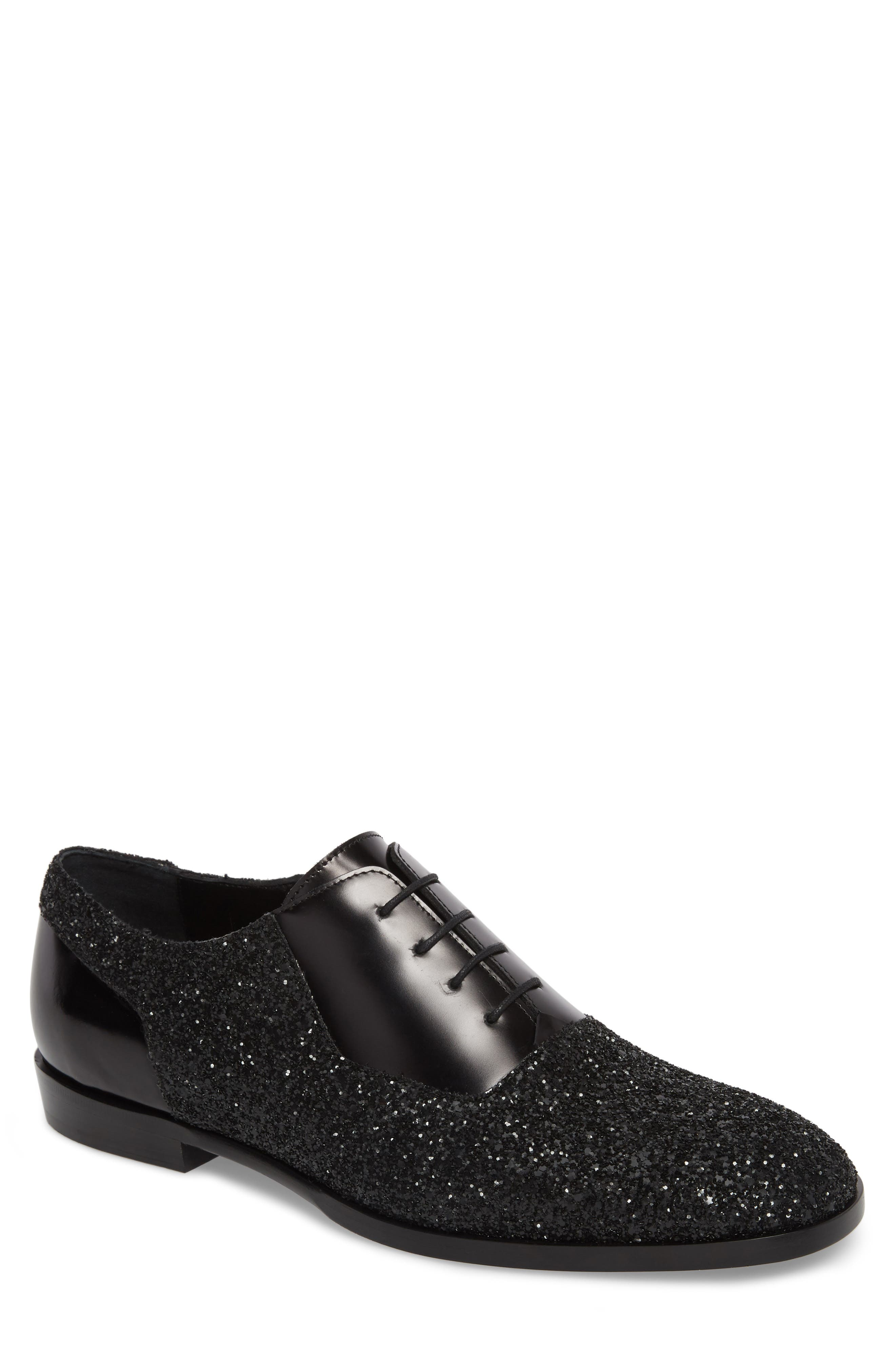 Jimmy choo Designer Shoes, Tyler OGA Leather and Glitter Fabric Oxford Shoes