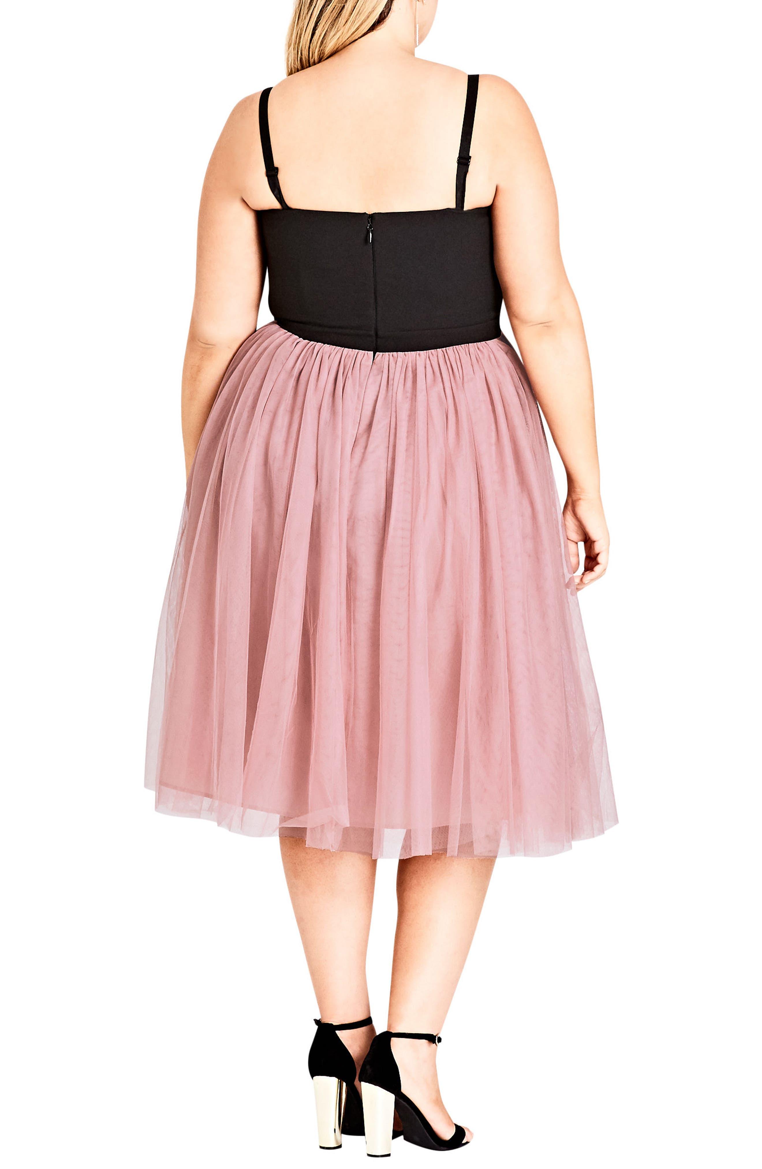 Power Princess Fit & Flare Dress,                             Alternate thumbnail 2, color,                             Pout