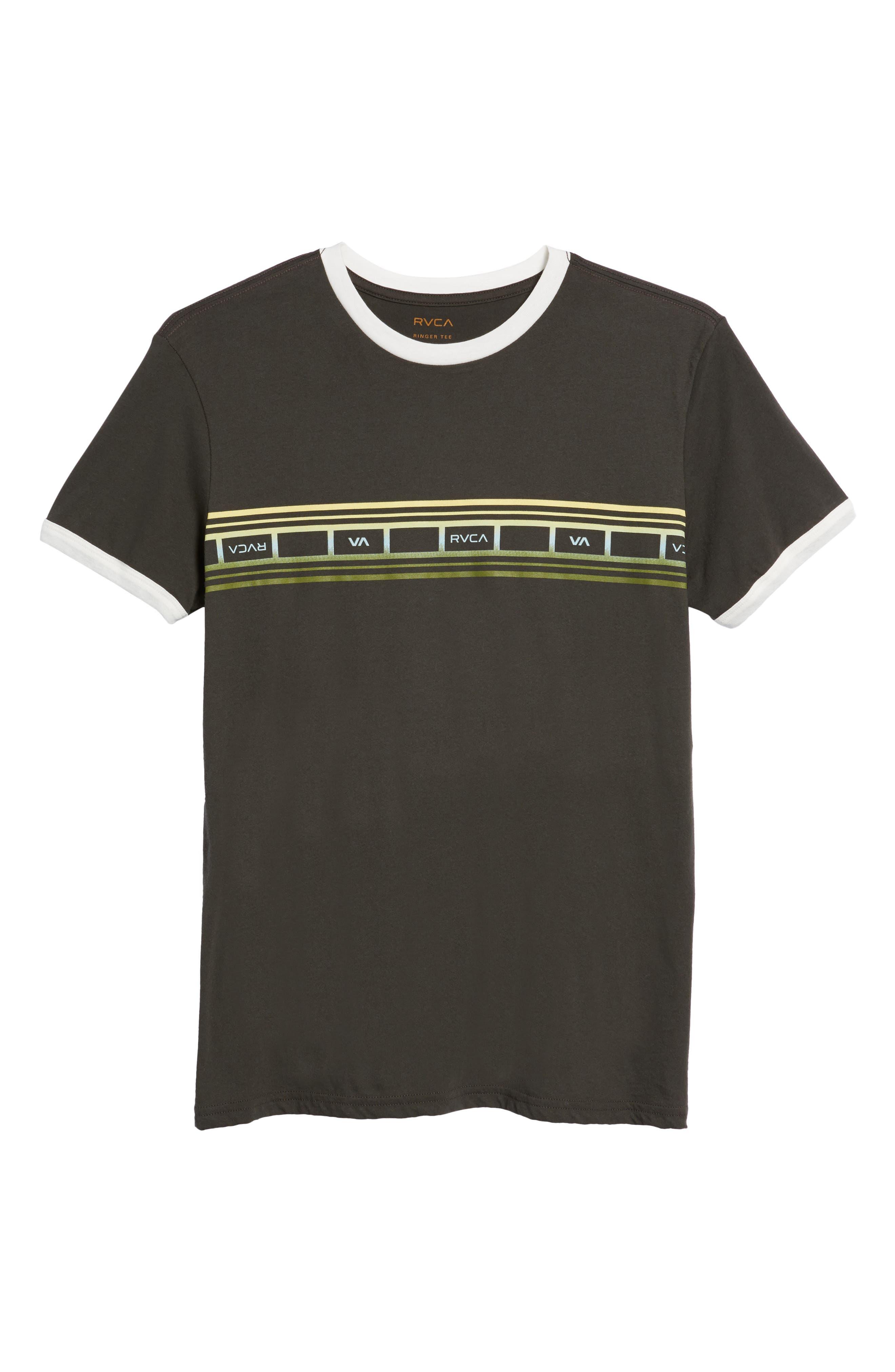 Fade Stripe Ringer T-Shirt,                             Alternate thumbnail 6, color,                             Pirate Black