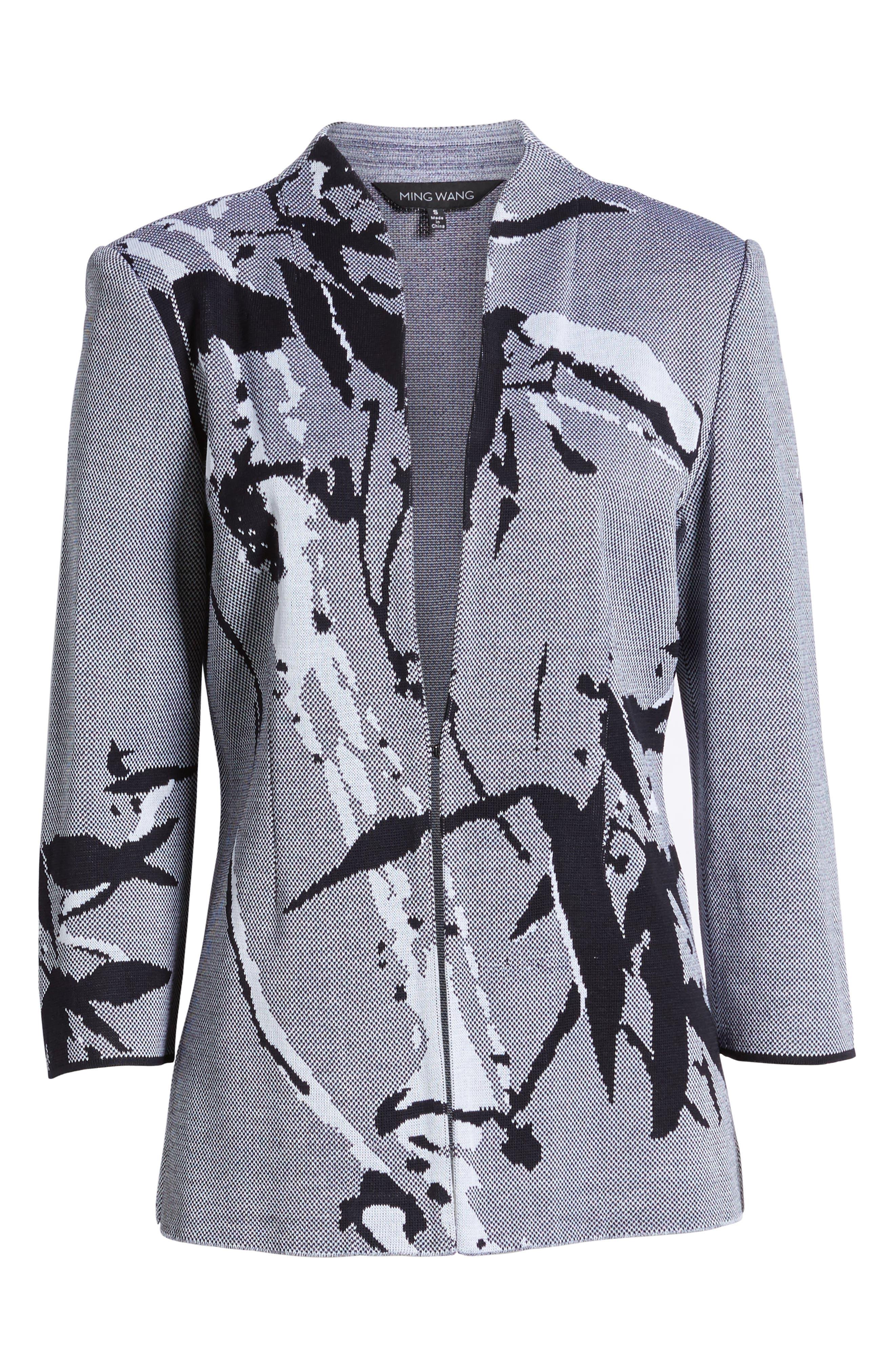 Abstract Jacquard Jacket,                             Alternate thumbnail 6, color,                             Navy/ White