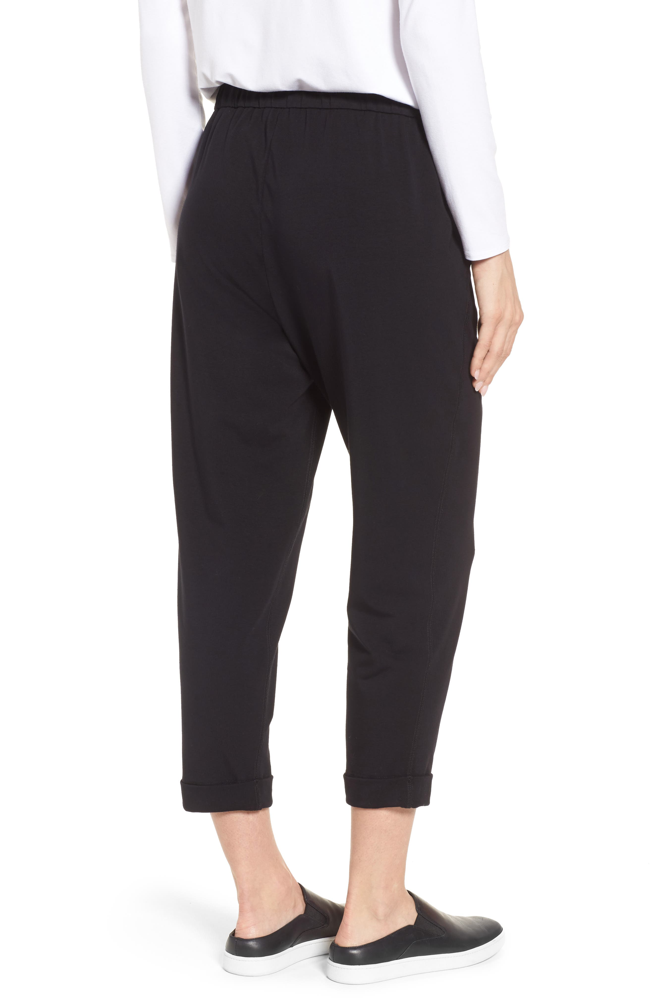 Stretch Organic Cotton Crop Pants,                             Alternate thumbnail 2, color,                             Black