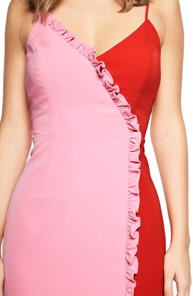 Ruffled colorblock midi dress