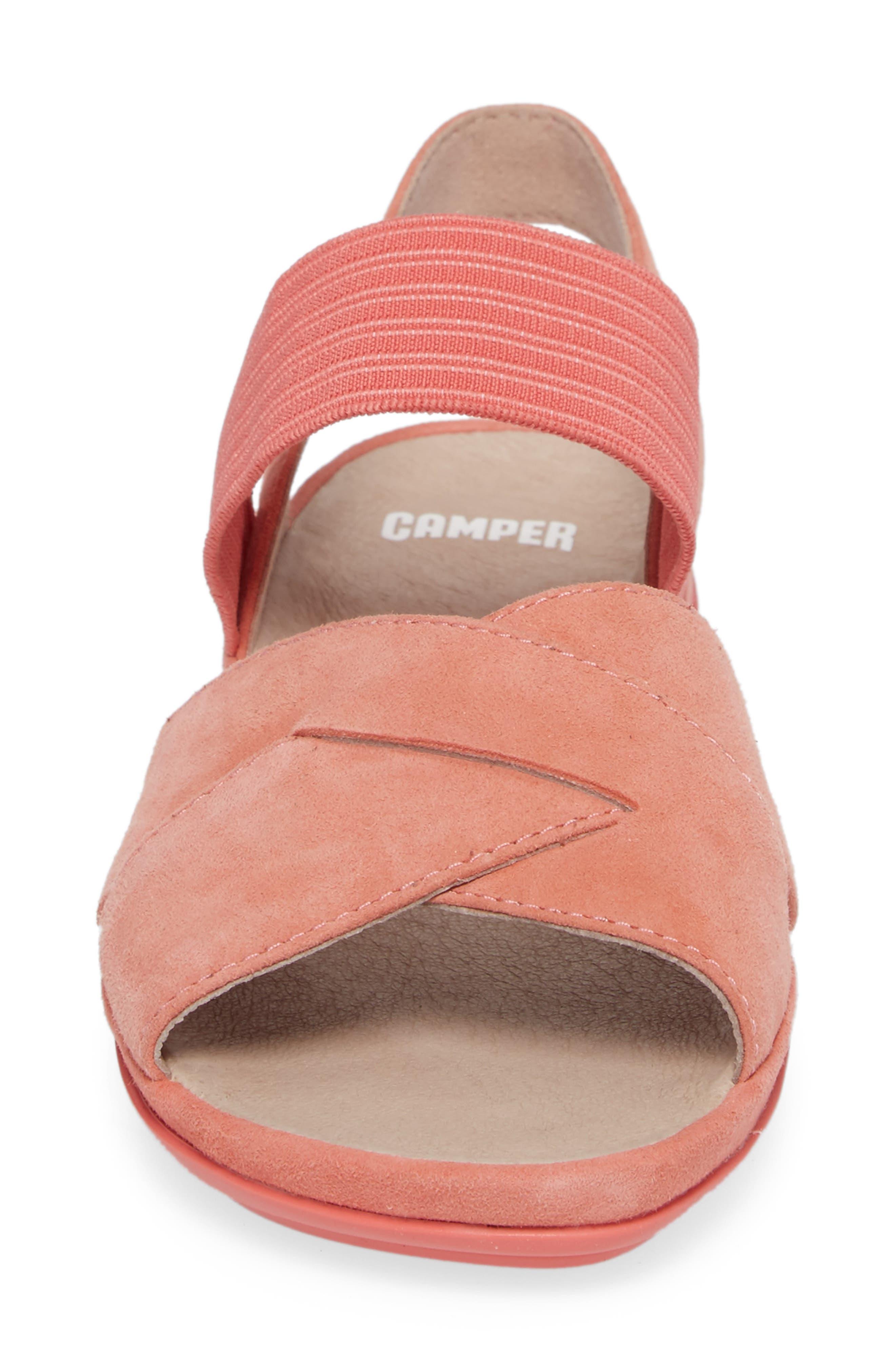 Right Nina Flat Cross Strap Sandal,                             Alternate thumbnail 4, color,                             Medium Pink Leather