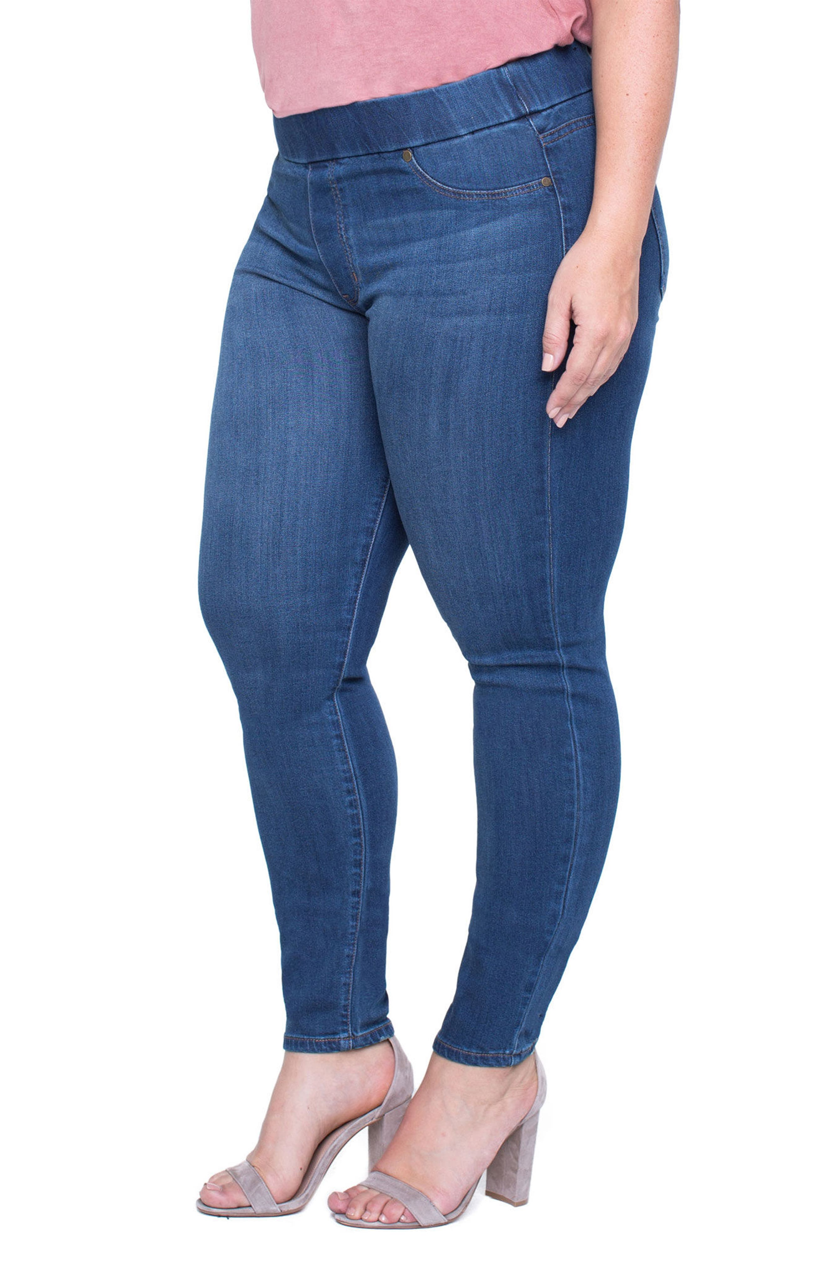 Alternate Image 3  - Liverpool Jeans Company Sienna Knit Denim Leggings (Plus Size)