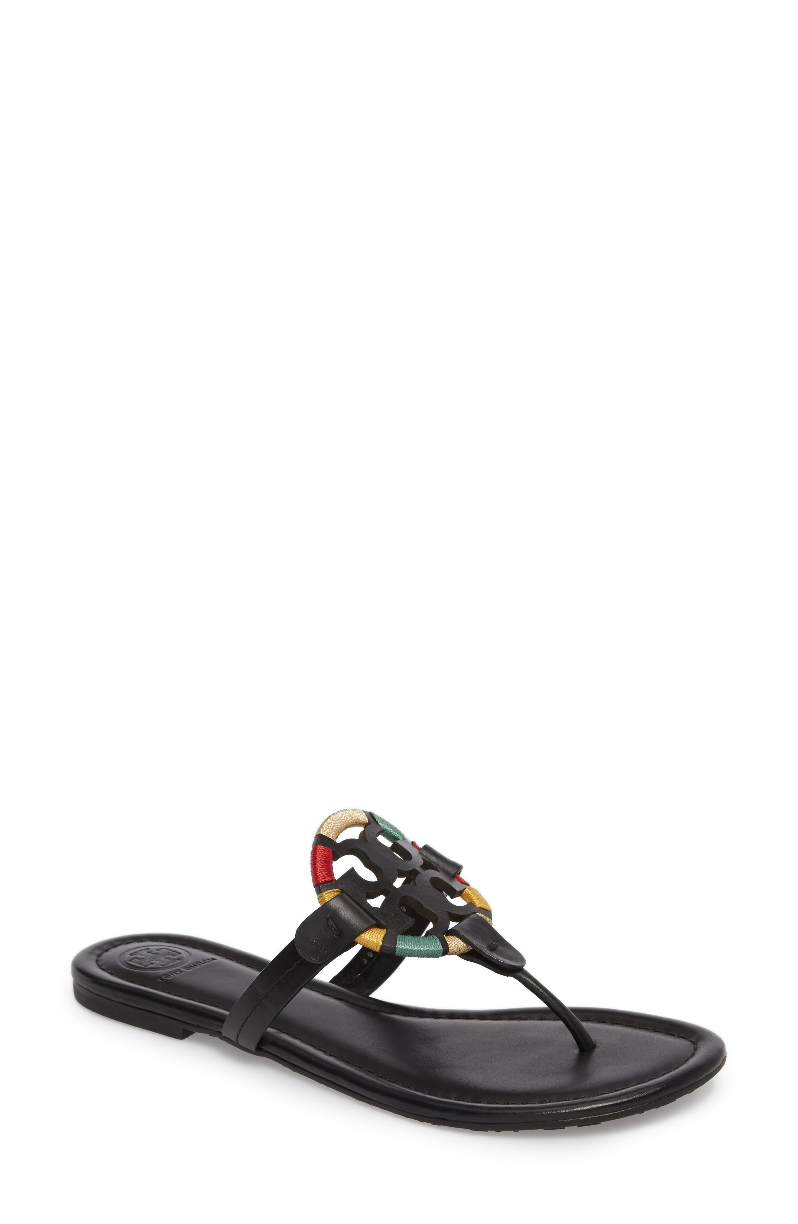 fcef45adc Tory Burch Miller Flat Embroidered Medallion Sandal In Black  Multi ...