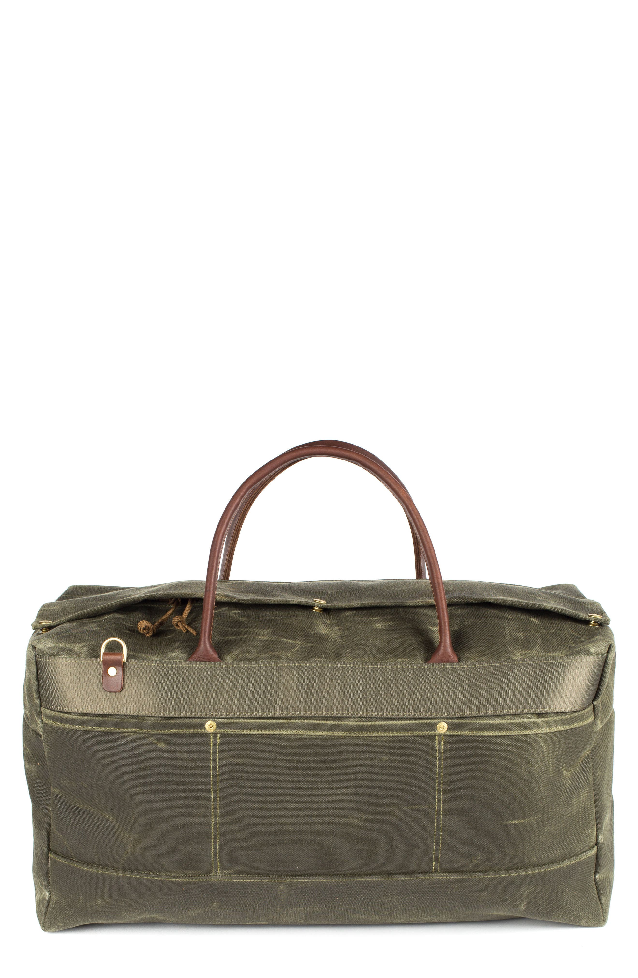 Grand Tourer Waxed Canvas Duffel Bag,                             Main thumbnail 1, color,                             Balmoral Moss