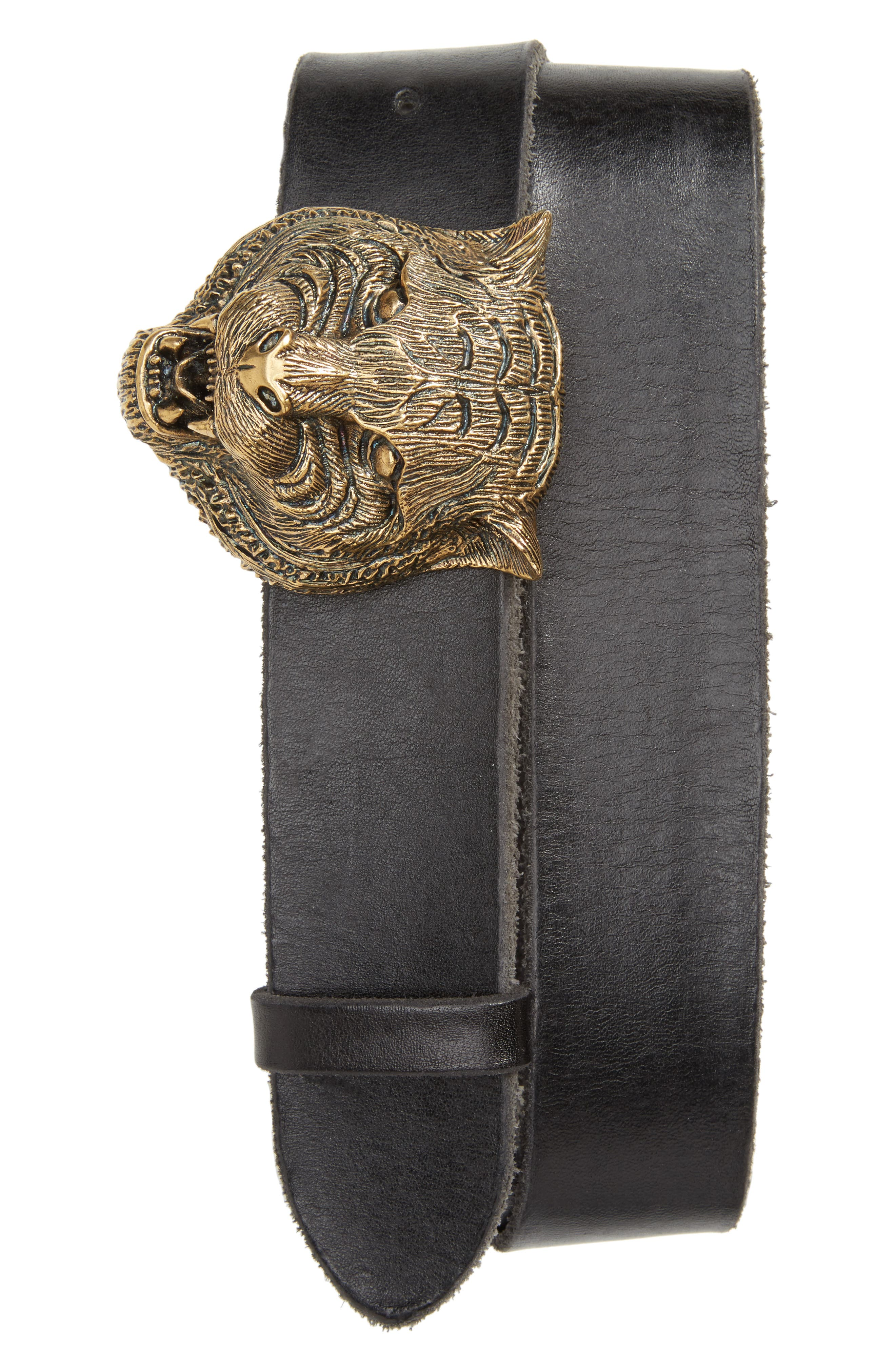 Tiger Head Leather Belt,                             Main thumbnail 1, color,                             Black