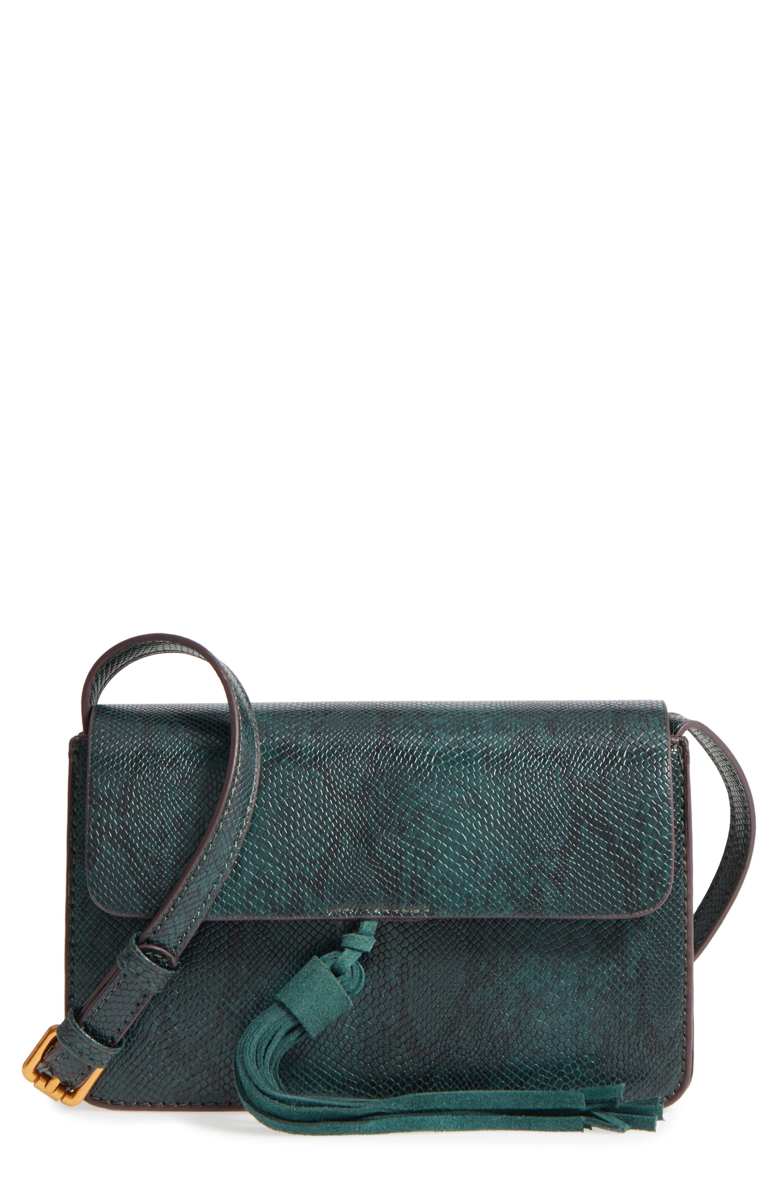 Main Image - Street Level Snake Embossed Faux Leather Crossbody Bag
