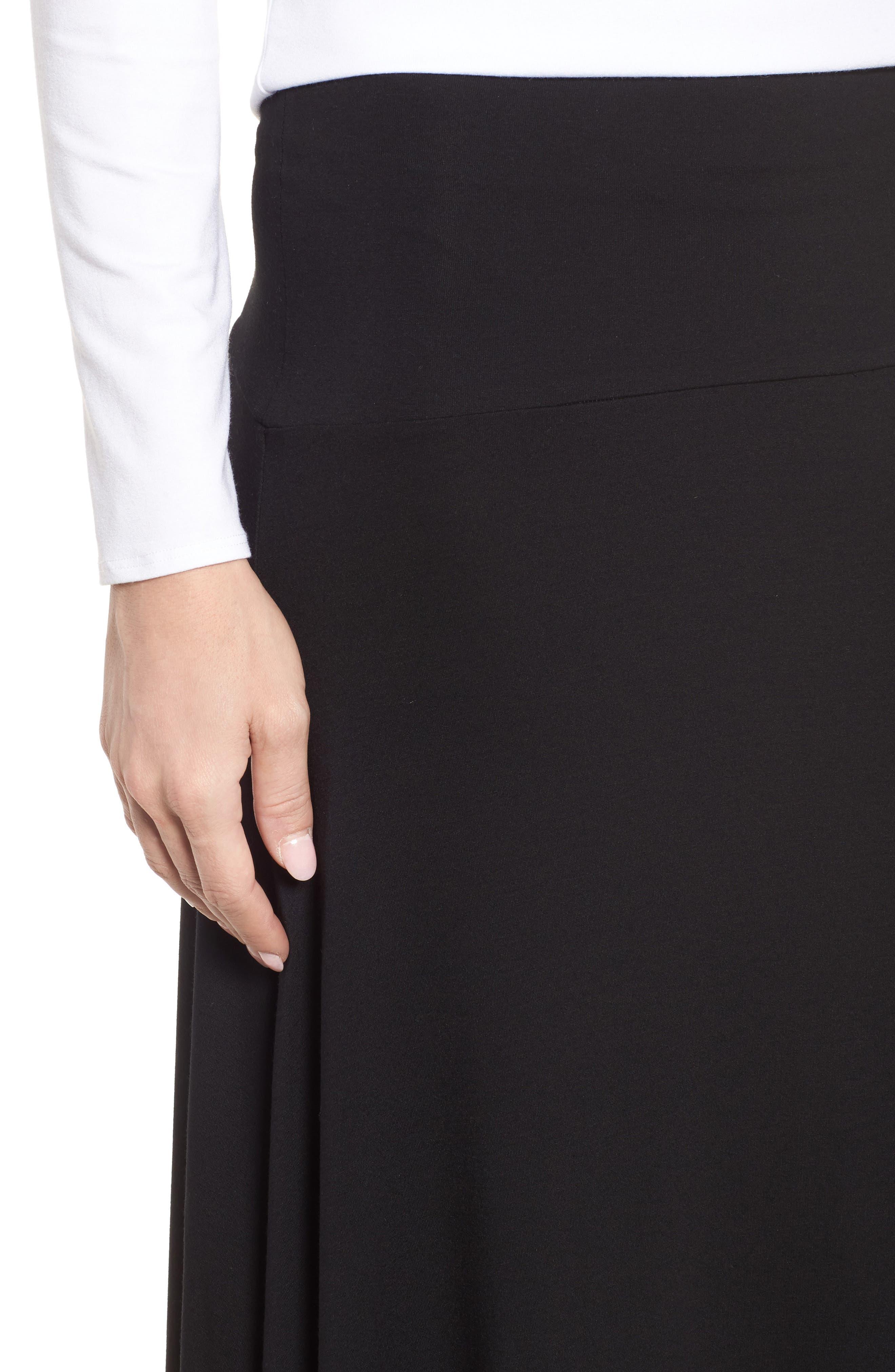 Flared Knit Skirt,                             Alternate thumbnail 4, color,                             Black