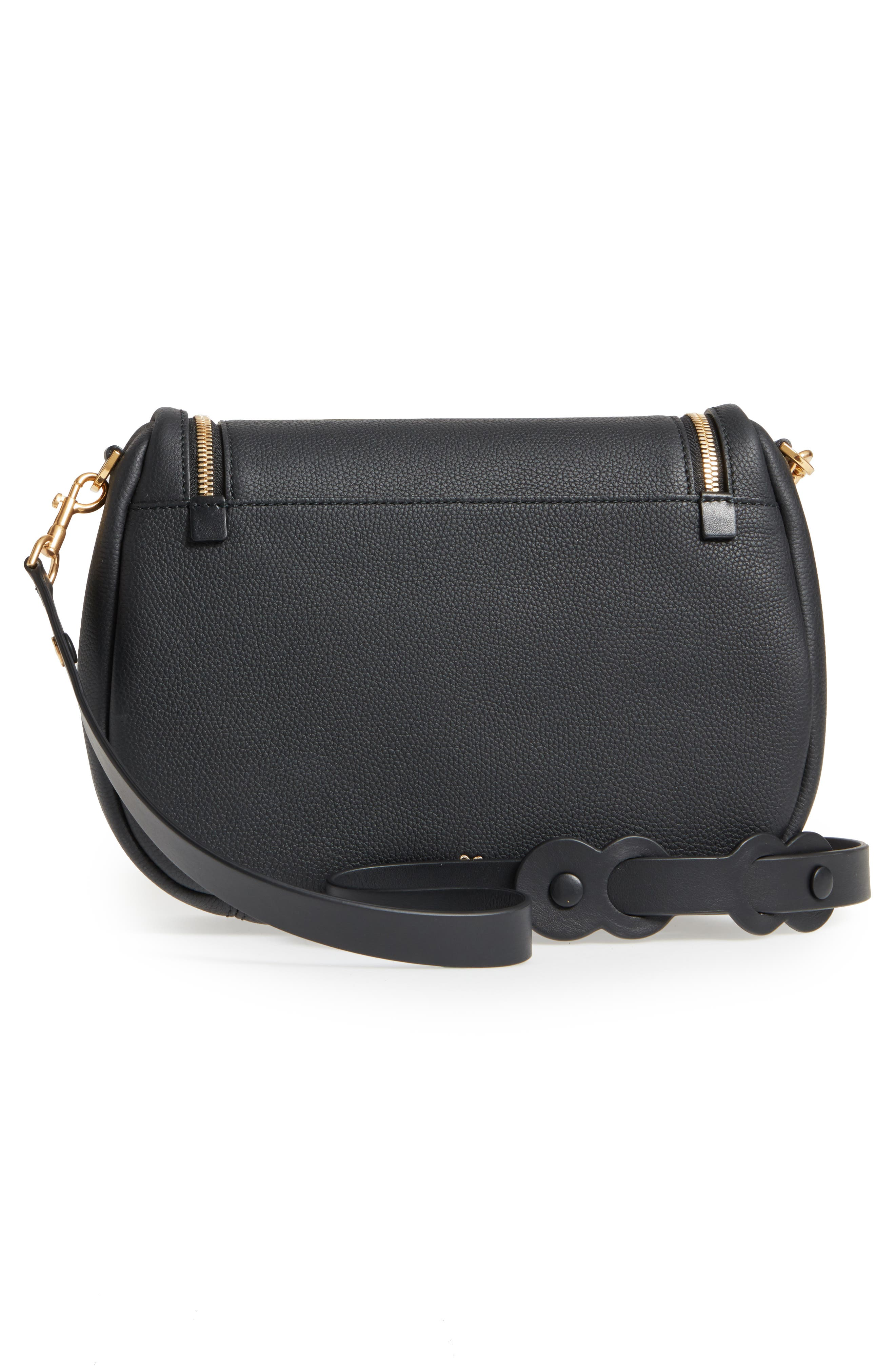 Mini Vere Soft Grained Leather Satchel,                             Alternate thumbnail 3, color,                             Black