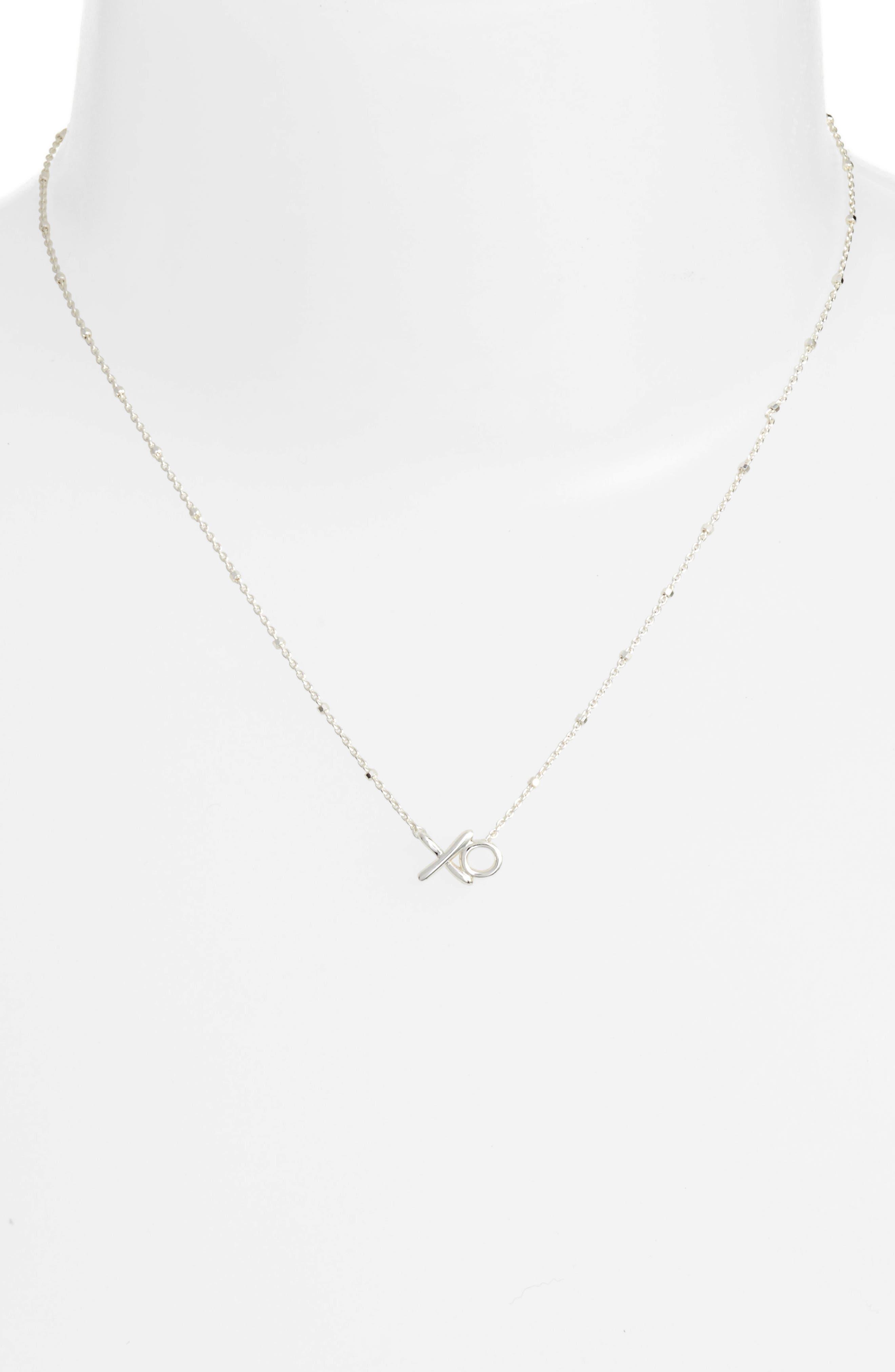 XO Pendant Necklace,                             Alternate thumbnail 2, color,                             Silver