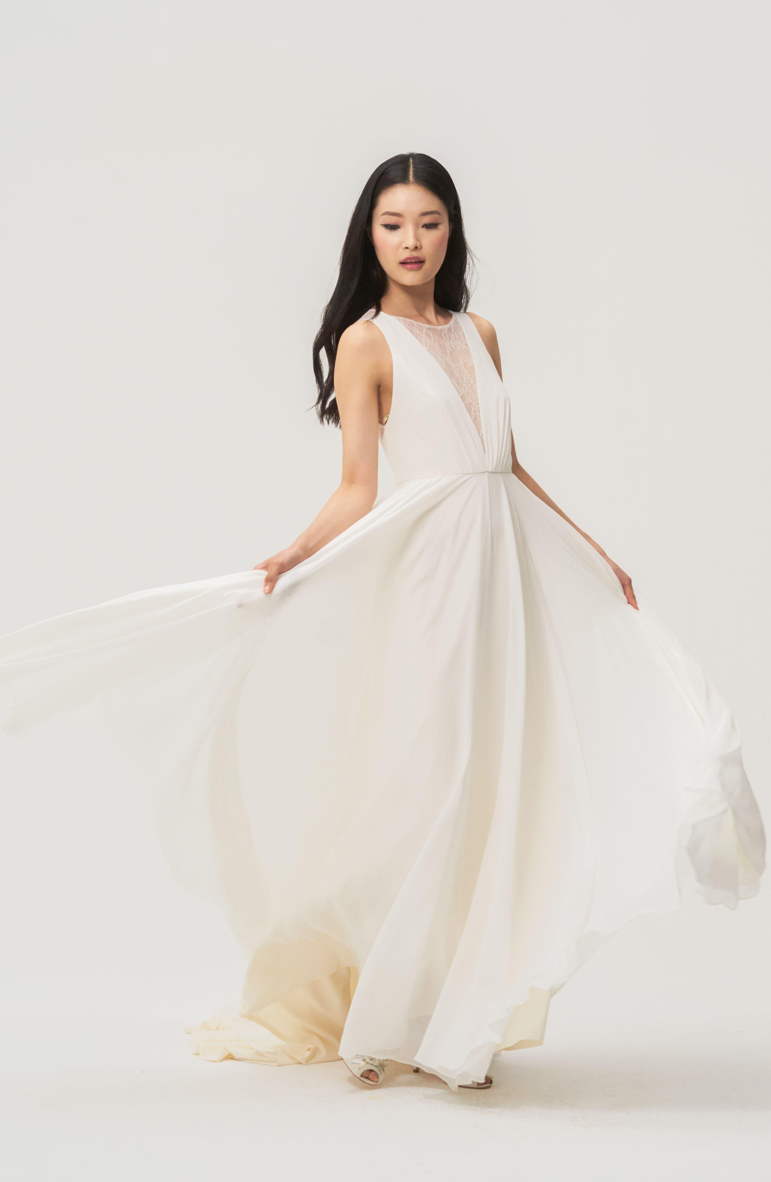 Fallon Lace & Chiffon A-Line Gown,                             Alternate thumbnail 3, color,                             Ivory
