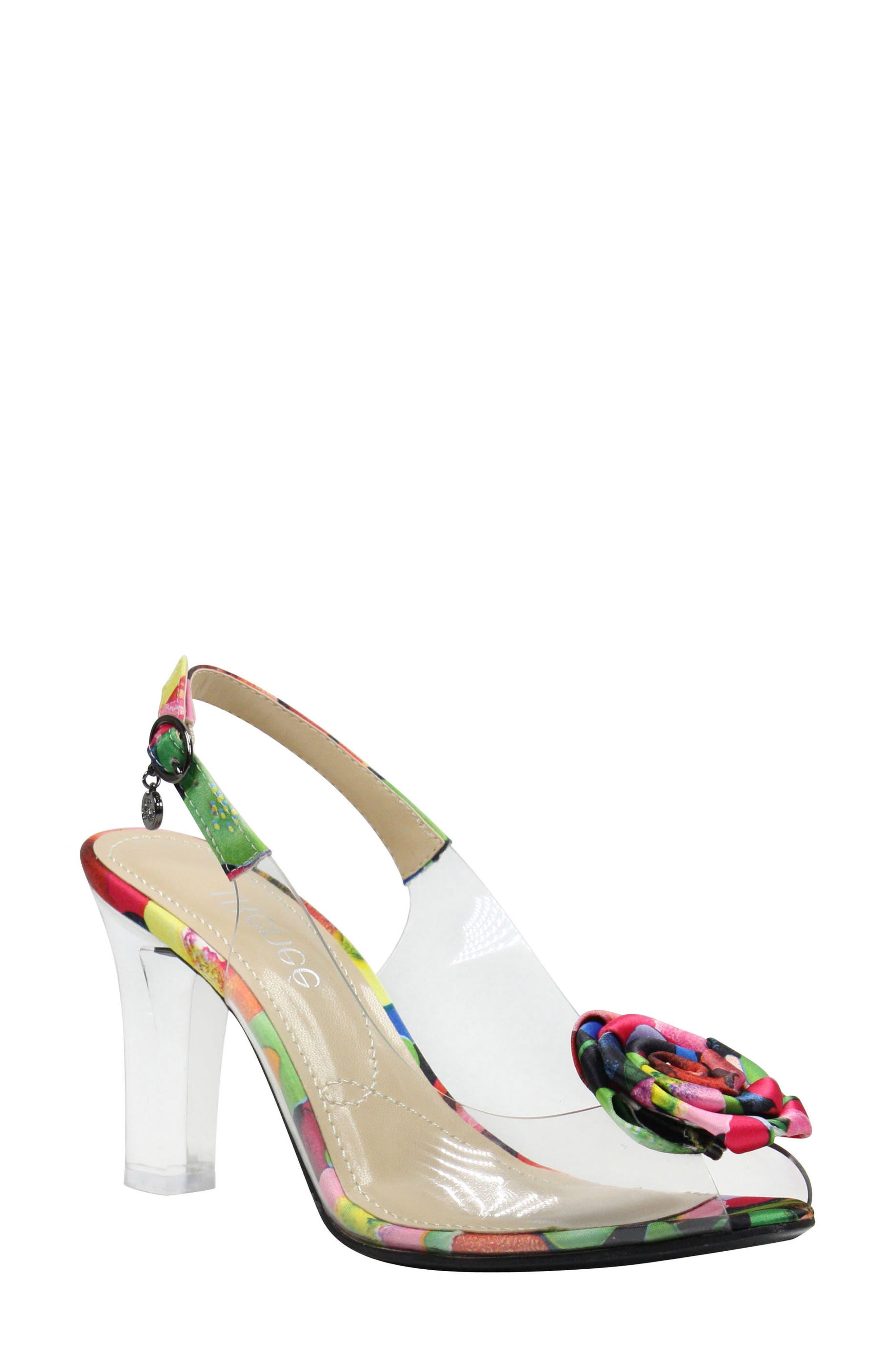 Adoracion Slingback Sandal,                         Main,                         color, Clear/ Black/ Black