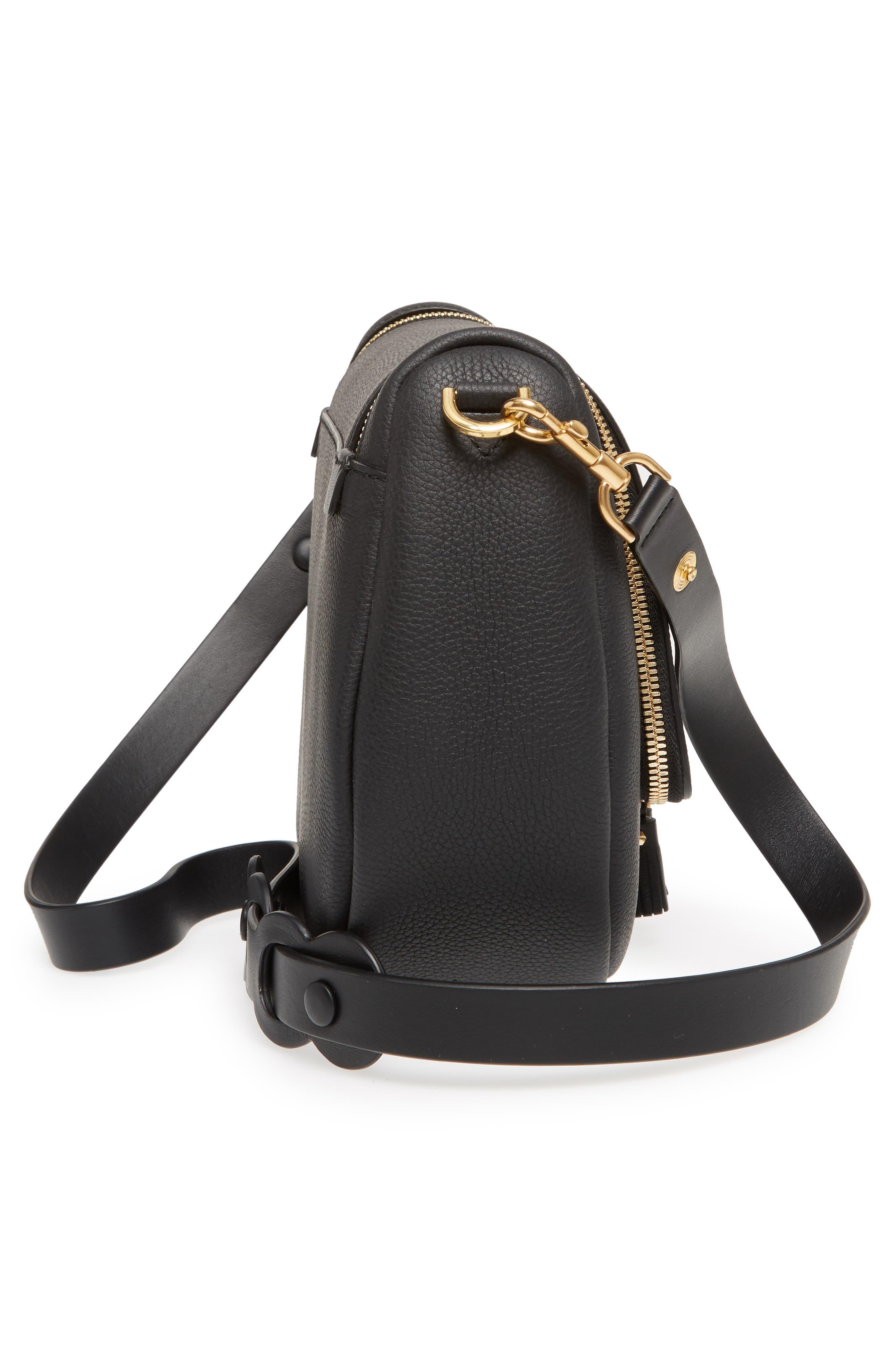 Mini Vere Soft Grained Leather Satchel,                             Alternate thumbnail 5, color,                             Black