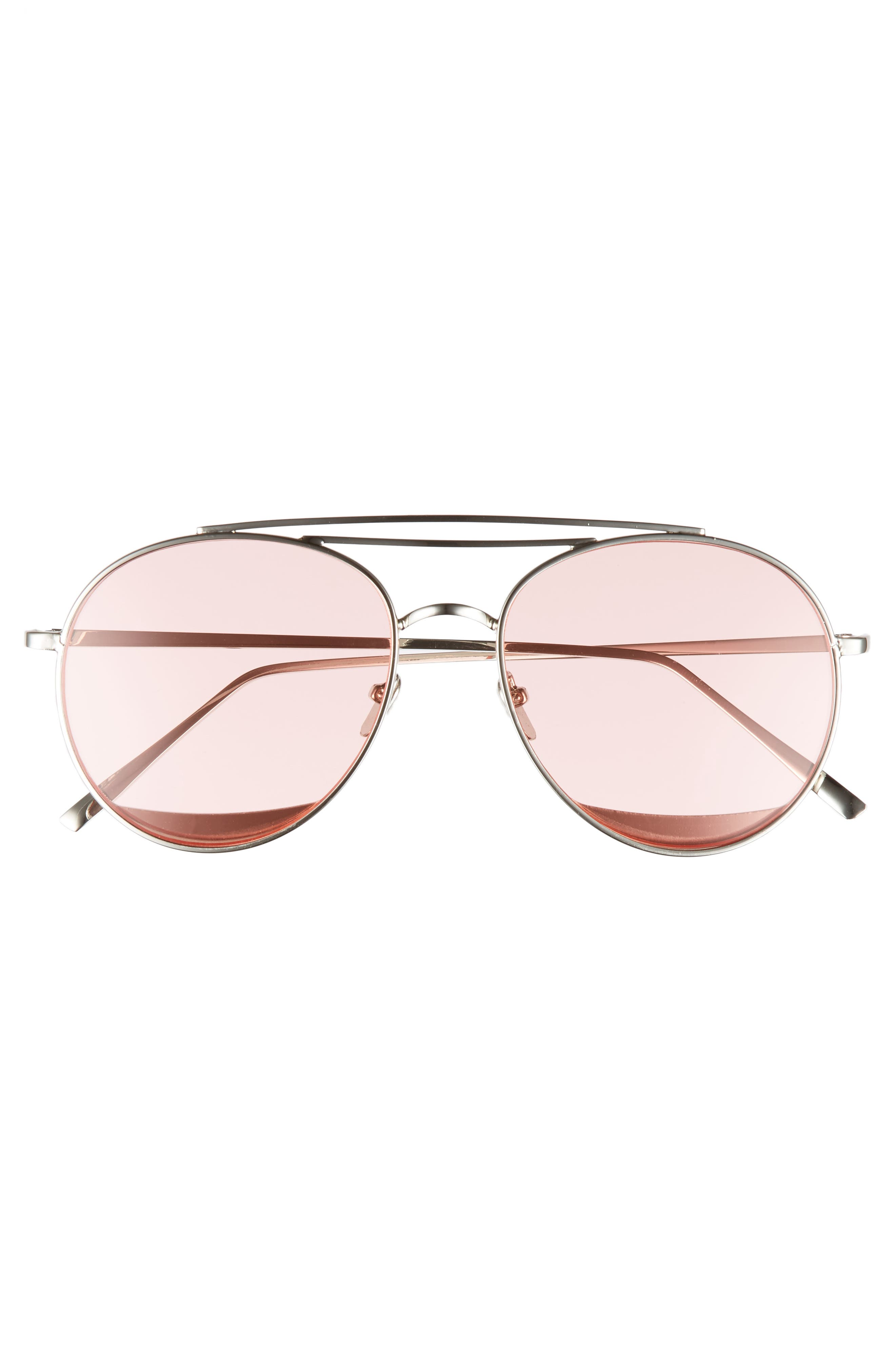 The Maddox 62mm Rimless Aviator Sunglasses,                             Alternate thumbnail 3, color,                             Pink