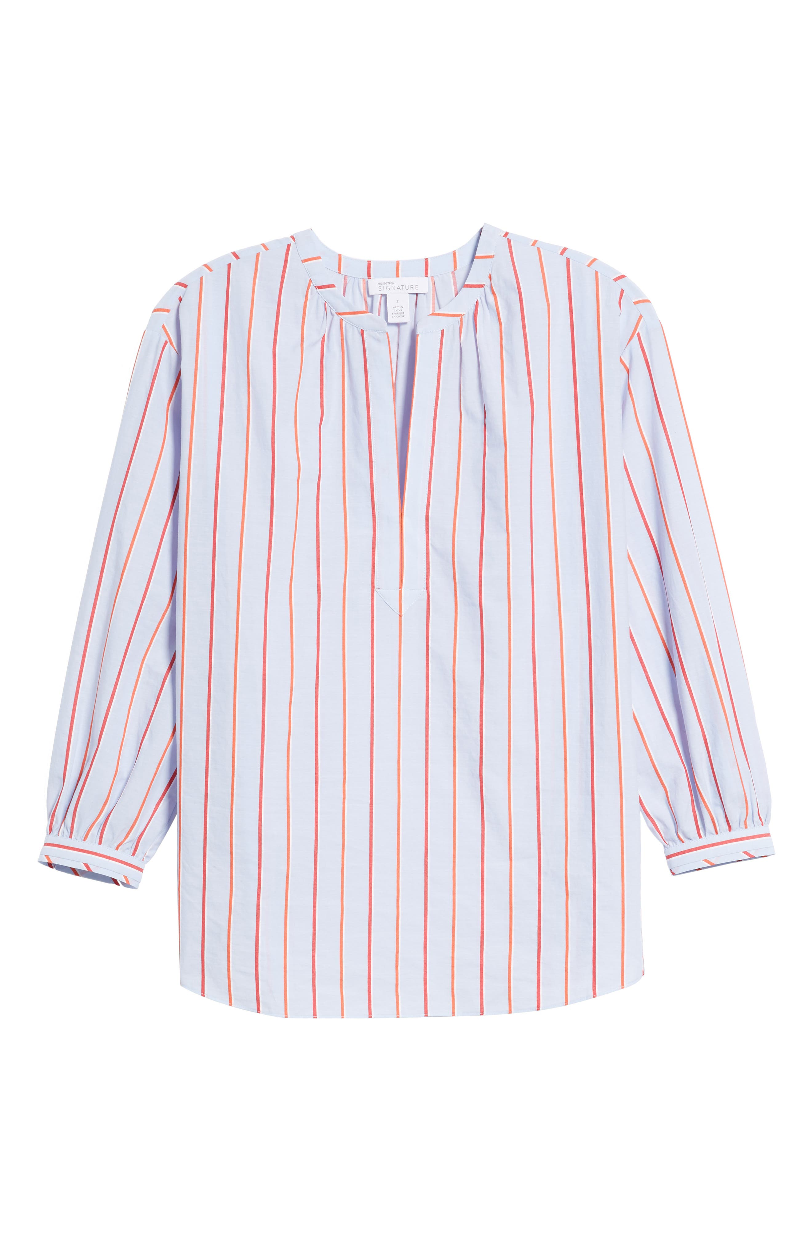 Balloon Sleeve Stripe Shirt,                             Alternate thumbnail 6, color,                             Orange- Blue Stripe