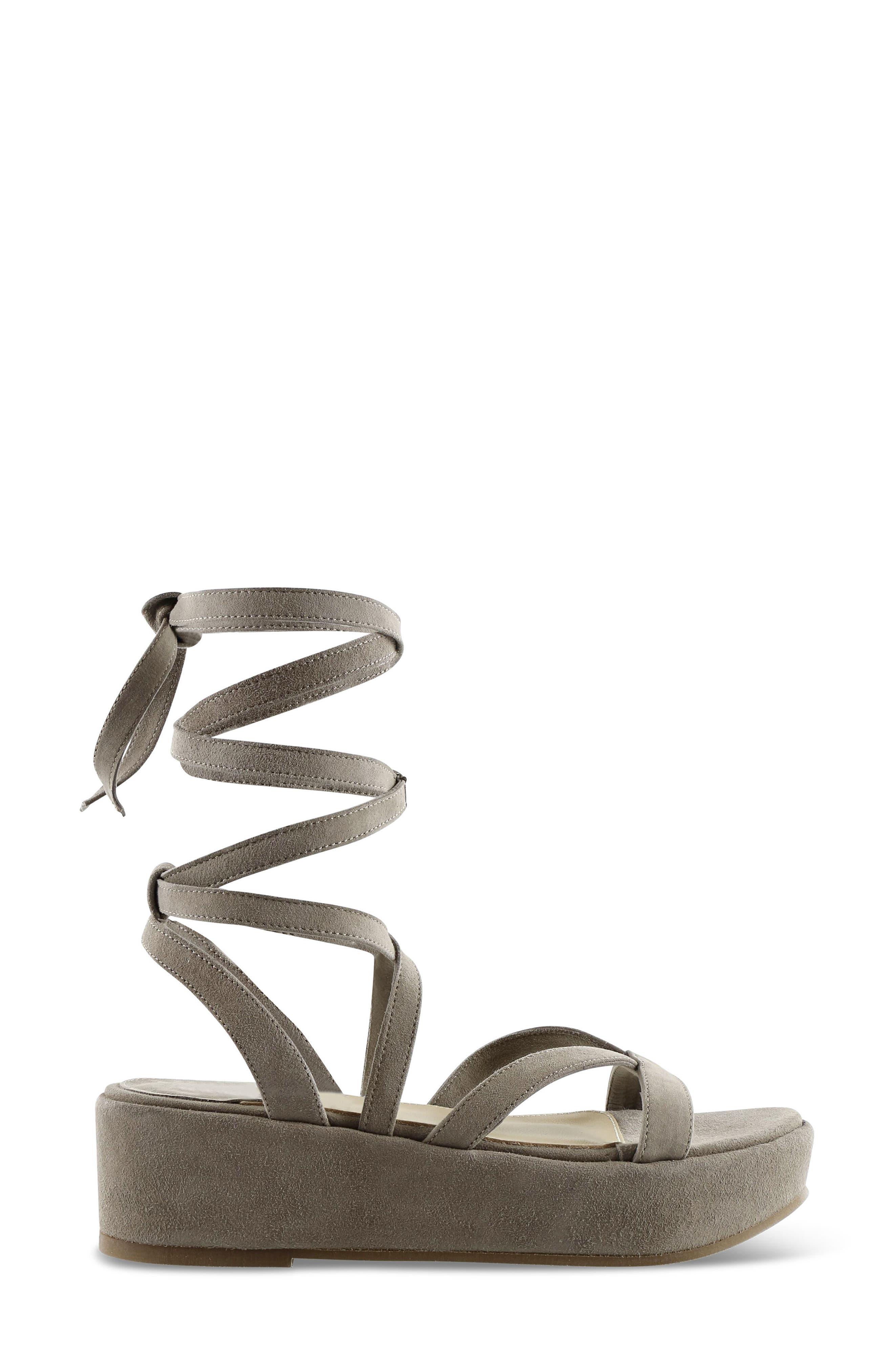 Keri Gladiator Platform Sandal,                             Alternate thumbnail 4, color,                             Camel Suede