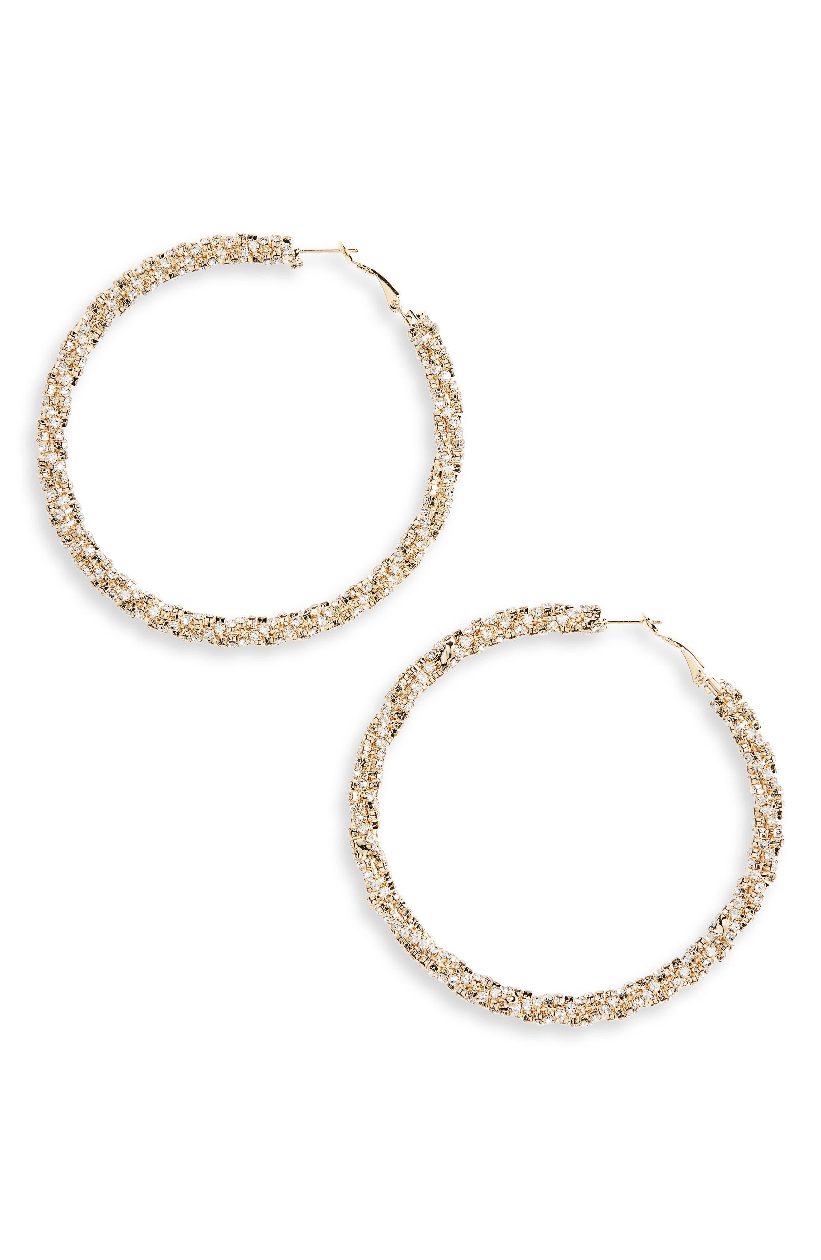 Stone Twist Hoop Earrings,                         Main,                         color, Gold/ Crystal