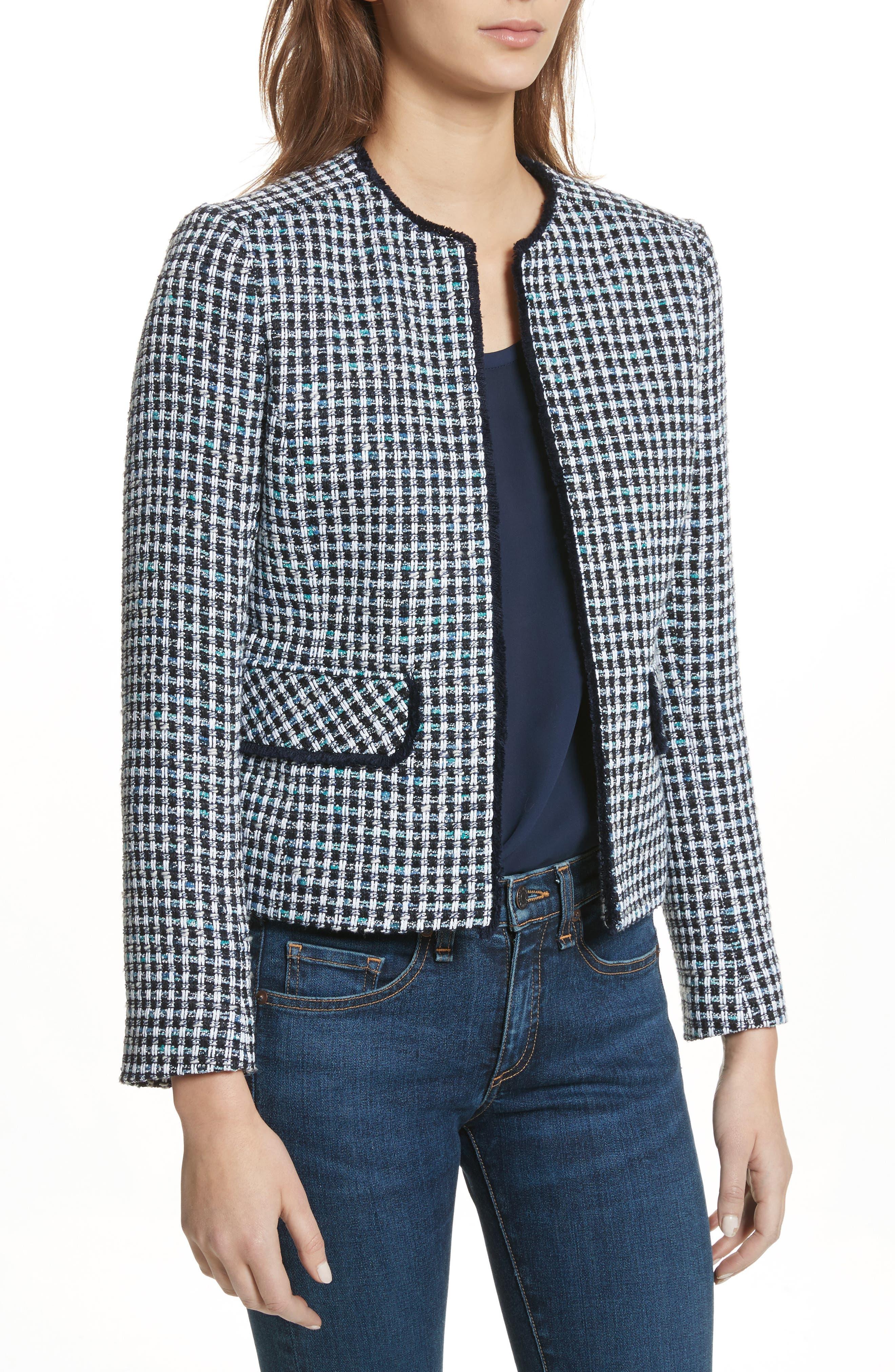 Check Short Tweed Jacket,                             Main thumbnail 1, color,                             Navy/ White