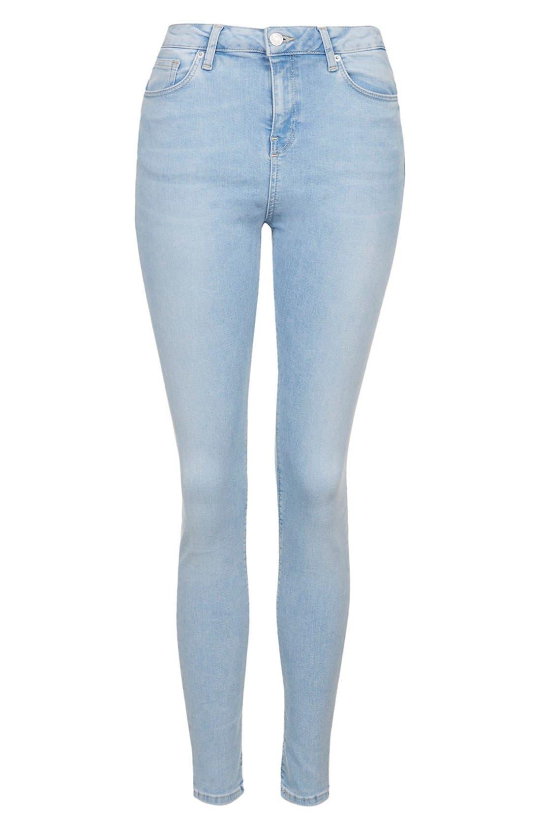 Alternate Image 3  - Topshop Moto 'Jamie' Bleached Skinny Jeans (Light Denim) (Regular & Short)